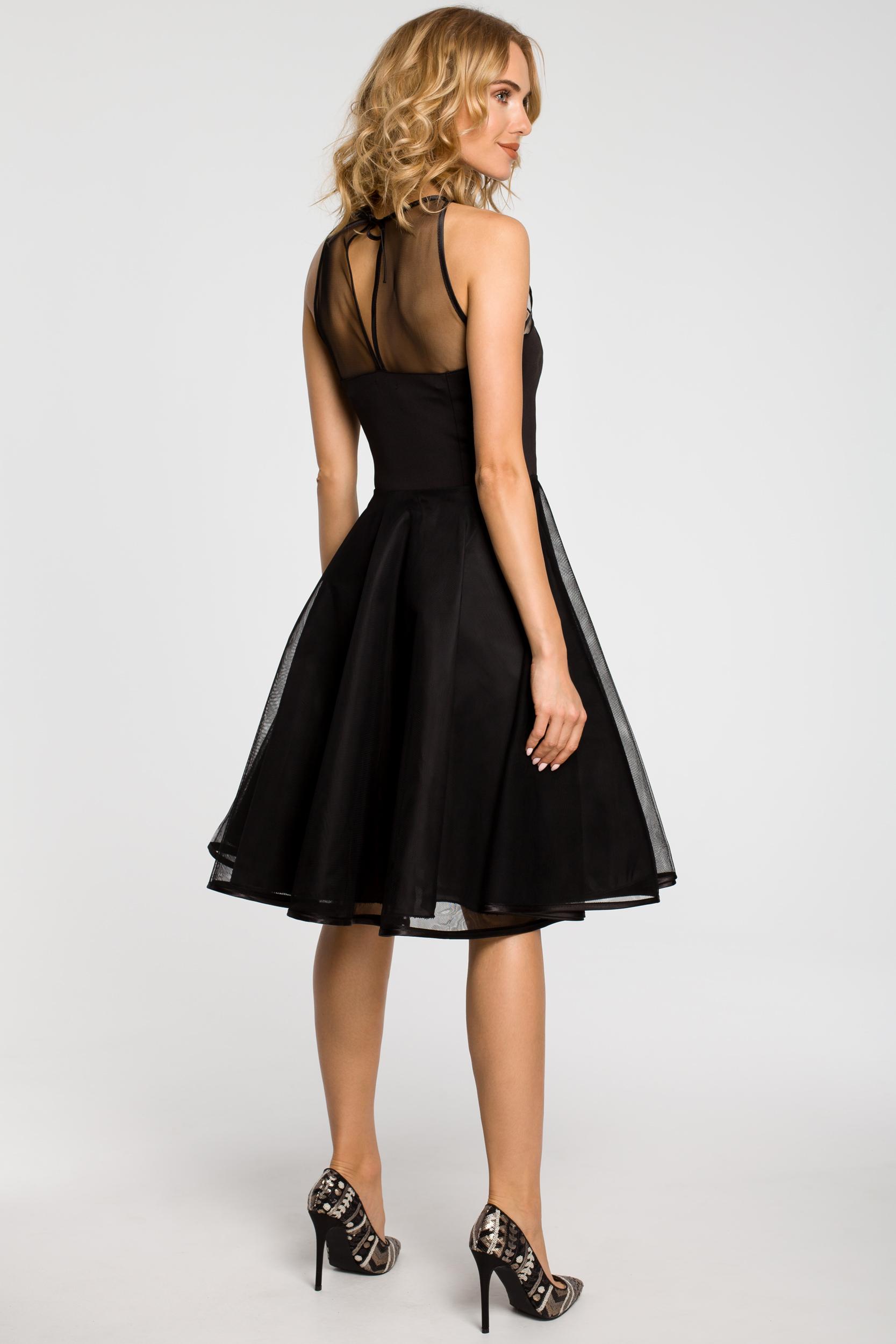 CM1183 Wieczorowa sukienka z dopasowaną górą - czarna