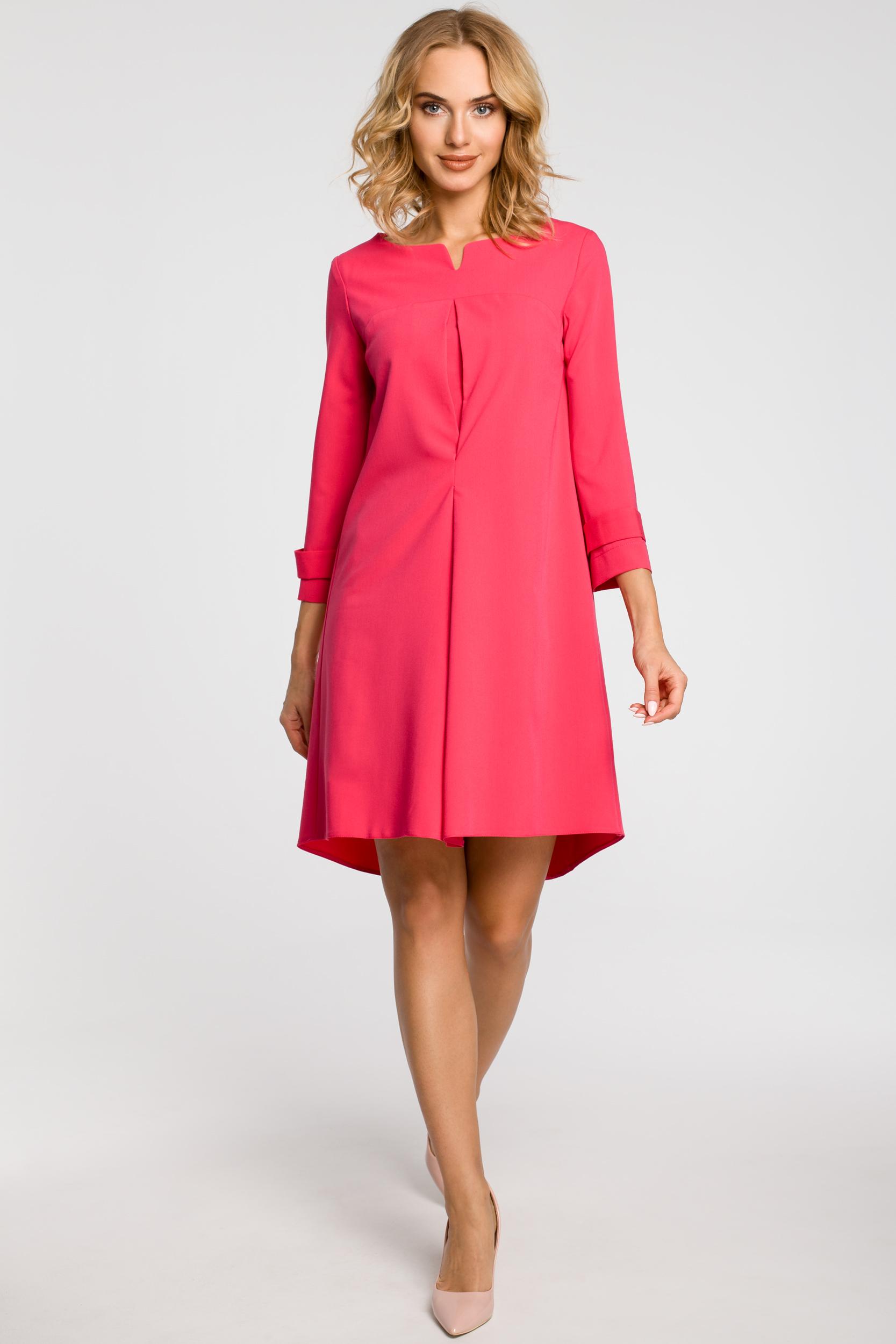 CM1150 Rozkloszowana sukienka na podszewce szeroki rękaw - różowa