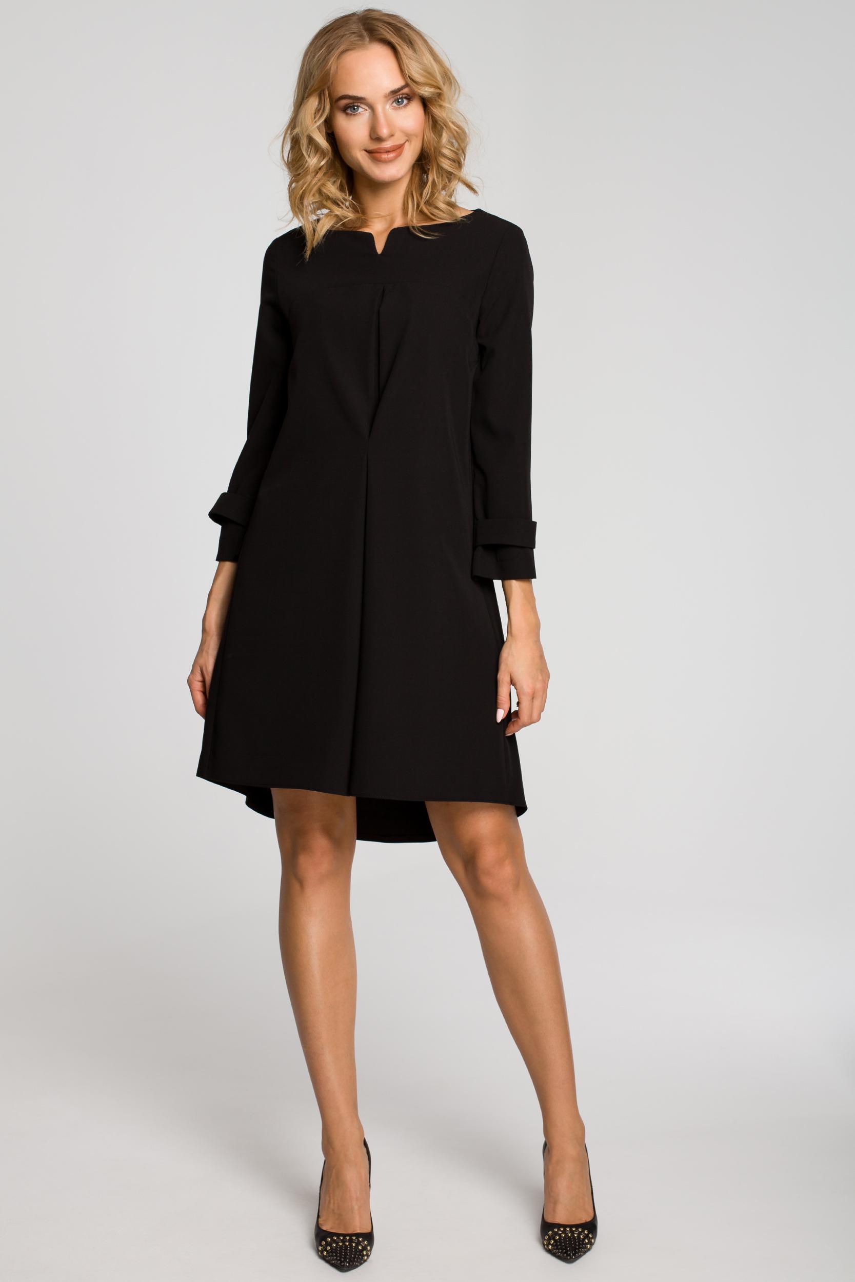 CM1150 Rozkloszowana sukienka na podszewce szeroki rękaw - czarna
