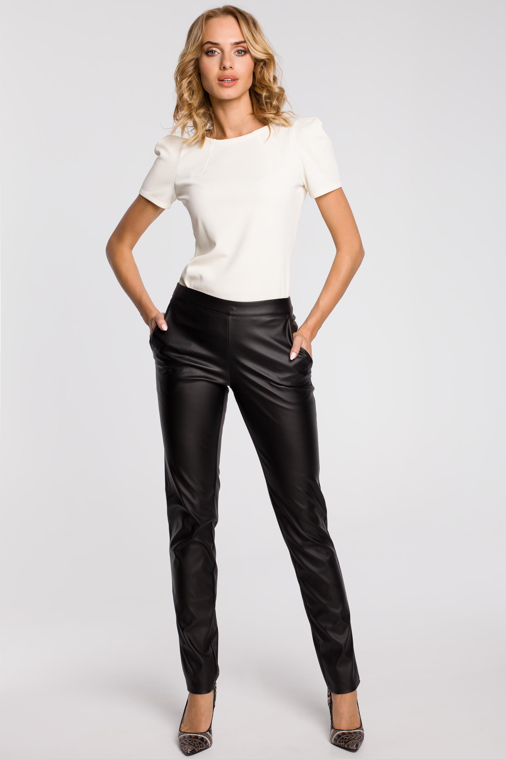 CM1187 Eleganckie spodnie damskie rurki z eko-skóry - czarne