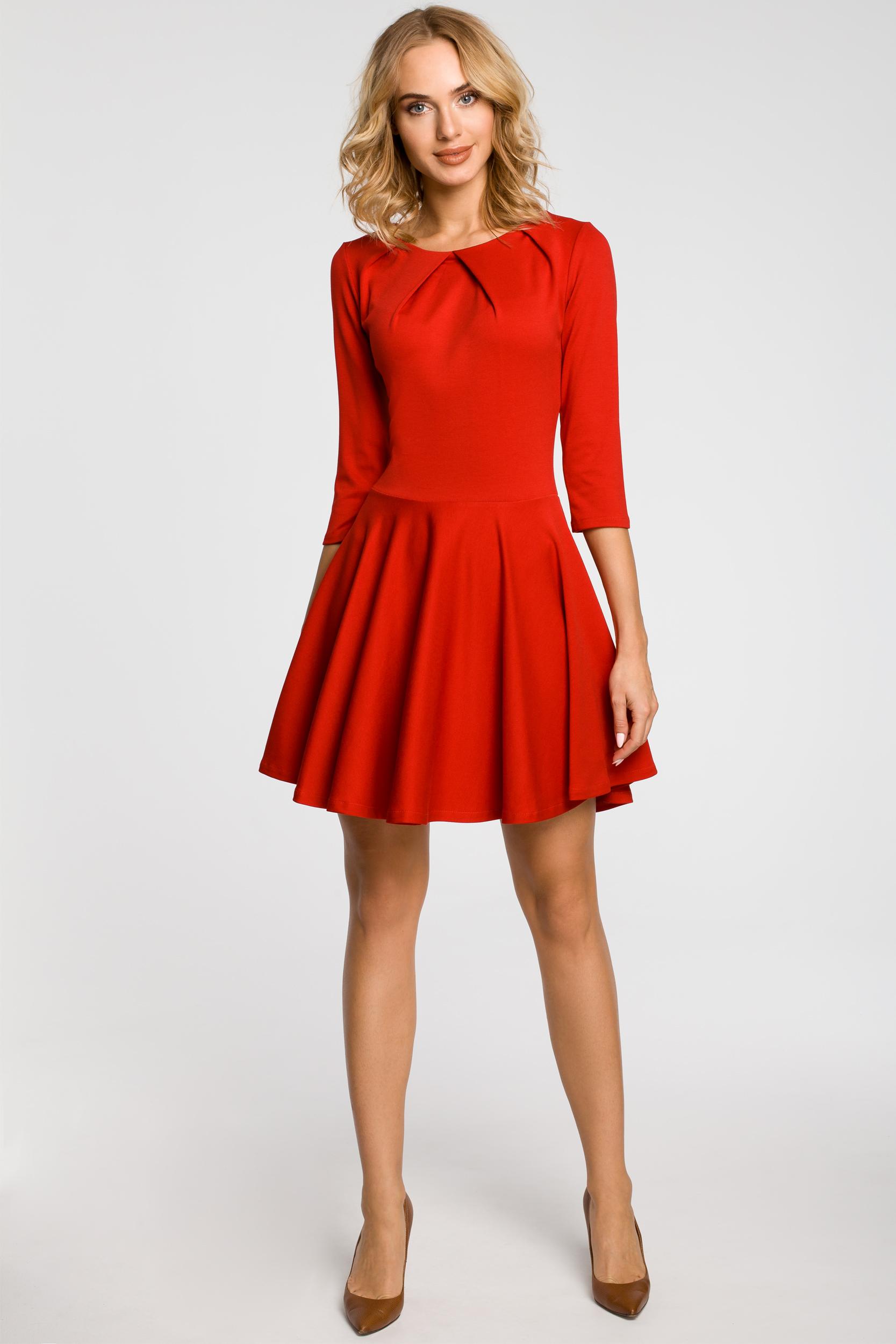 CM0990 Elegancka rozkloszowana sukienka mini - czerwona