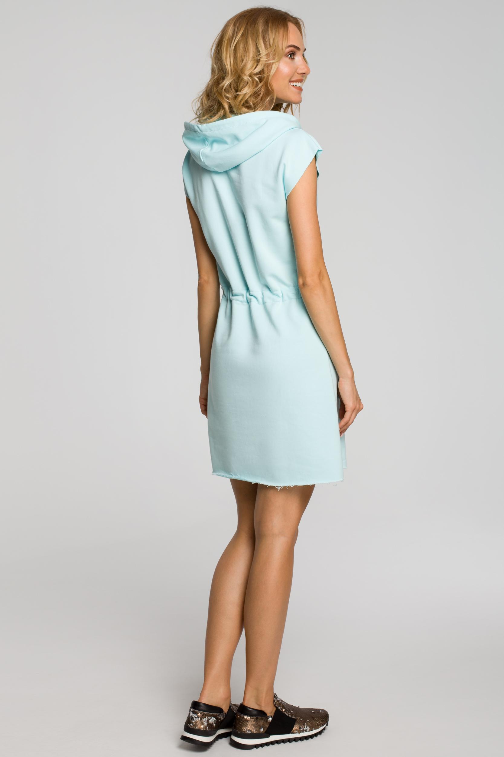 CM0819 Dresowa sukienka z kapturem i troczkami - miętowa