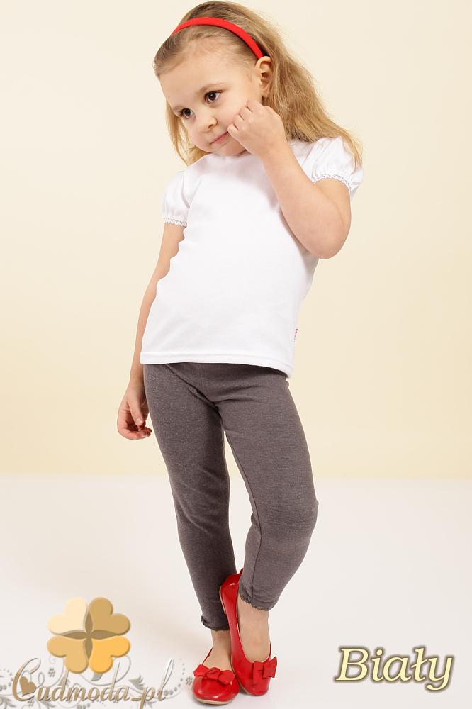 MA016 Gładka dziewczęca bluzeczka z koronką - biała