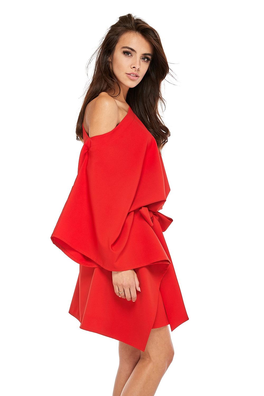 CM3503 Przewiązana sukienka z rękawami kimono - czerwona
