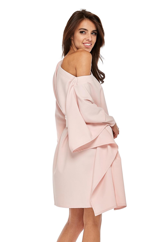 CM3503 Przewiązana sukienka z rękawami kimono - różowa
