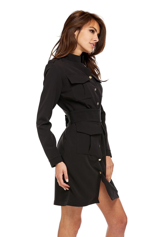 CM3504 Gustowna sukienka o militarnym kroju z guzikami - czarna
