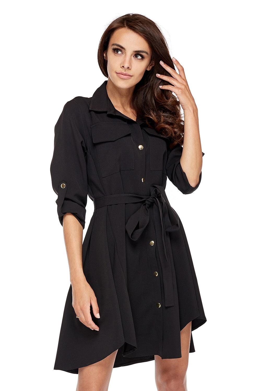 CM3505 Nowoczesna sukienka o militarnym wyglądzie - czarna