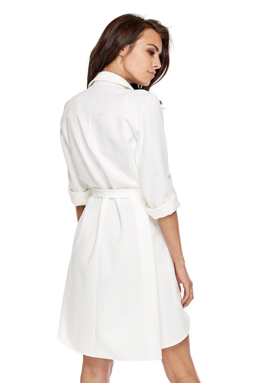 CM3505 Nowoczesna sukienka o militarnym wyglądzie - biała