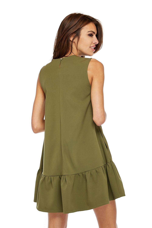 CM3506 Elegancka sukienka bez rękawów z falbanką - khaki
