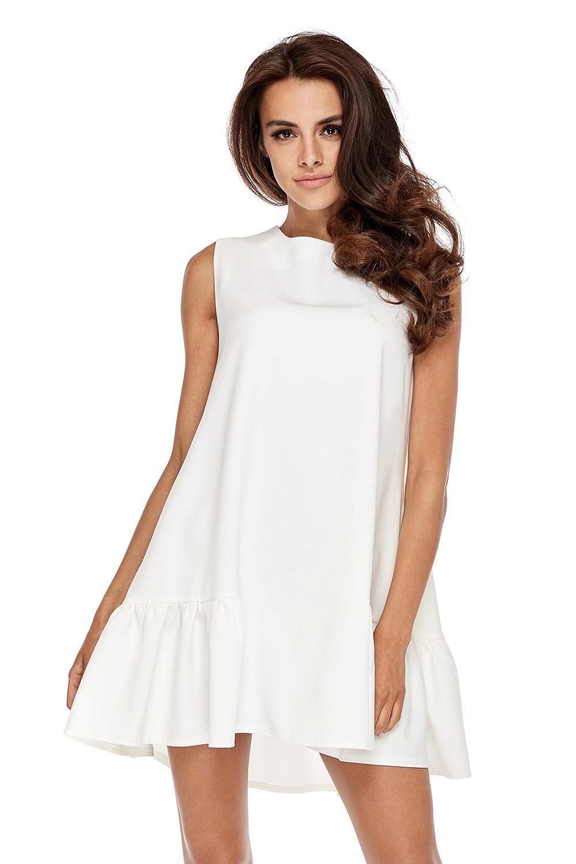 CM3506 Elegancka sukienka bez rękawów z falbanką - biała