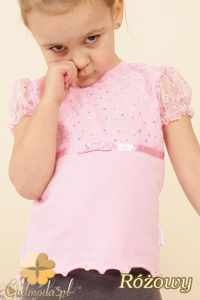 MA017 Śliczna dziecięca bluzka z bufkami - różowa