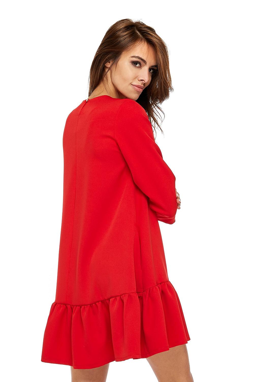 CM3512 Szykowna sukienka z rękawem 3/4 i falbanką - czerwona