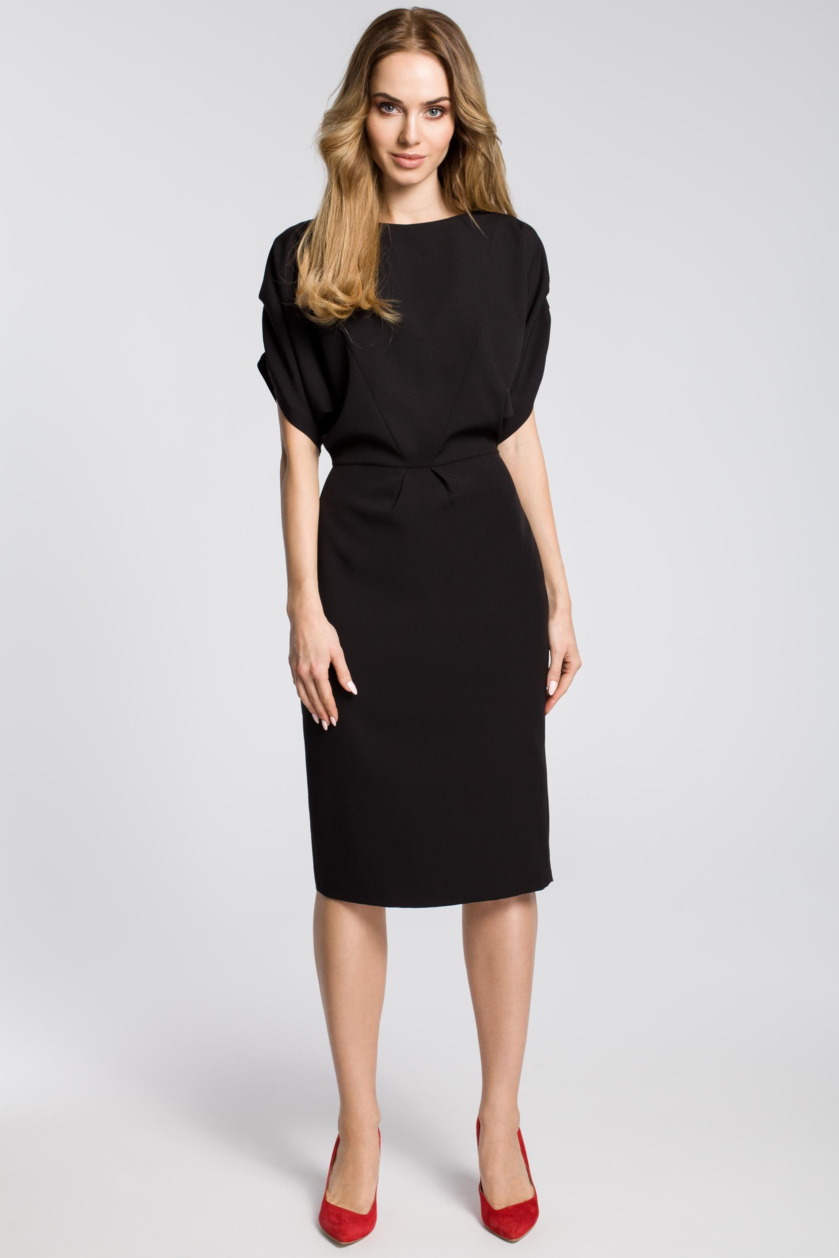 870df5176c CM3592 Ołówkowa sukienka midi z rękawami kimono - czarna ...