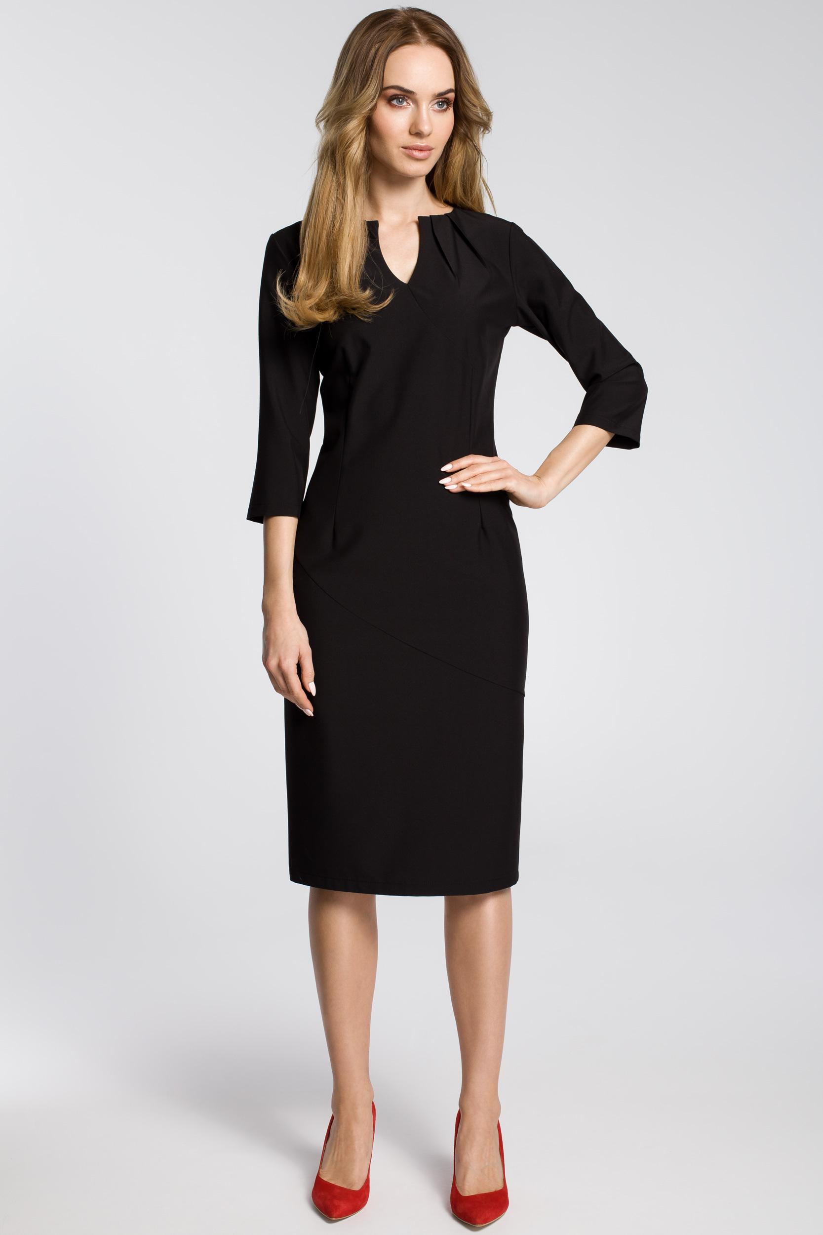 CM3594 Ołówkowa sukienka z przeszyciem rękaw 3/4 - czarna