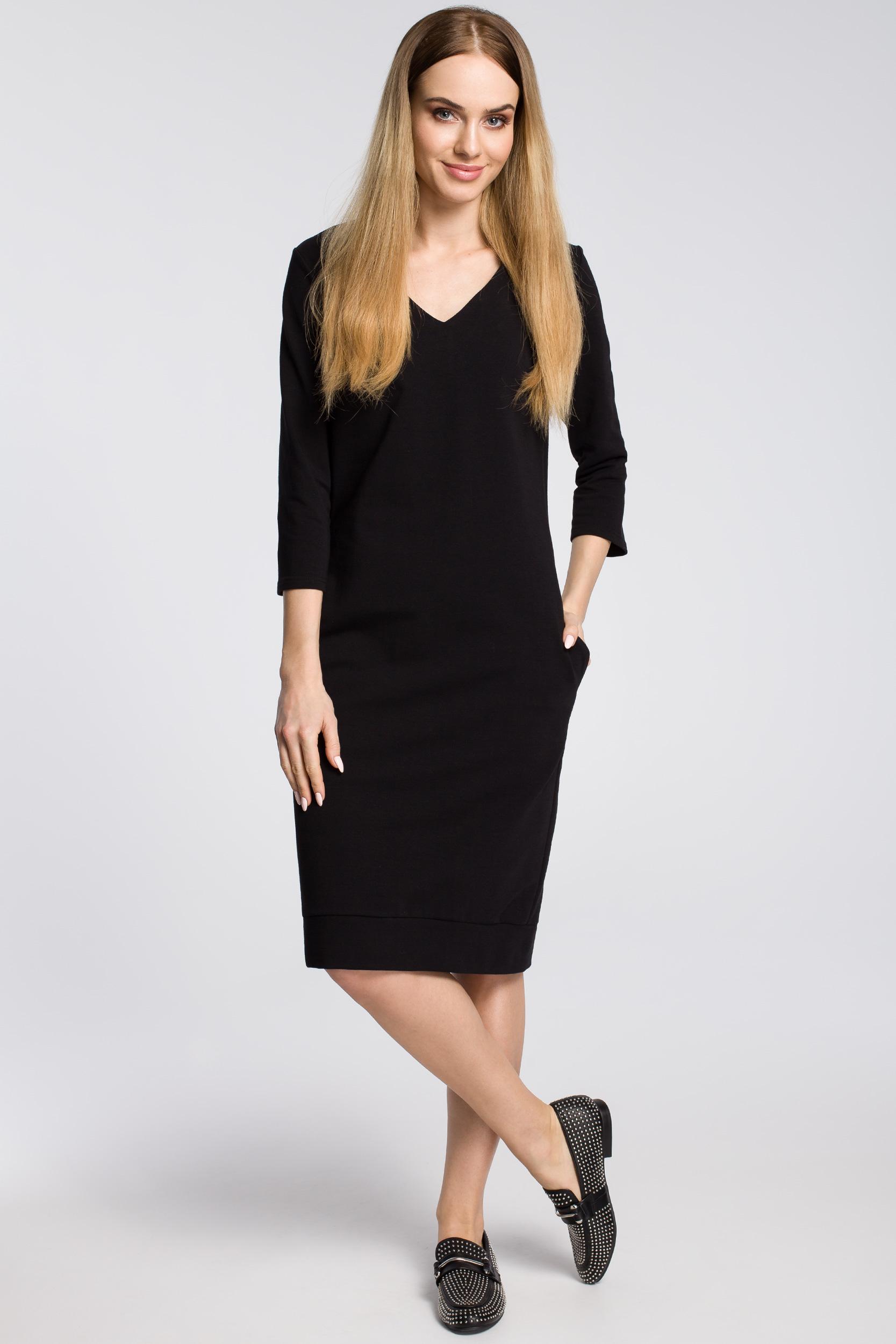 CM3599 Sukienka pudełkowa z dekoltem w serek - czarna