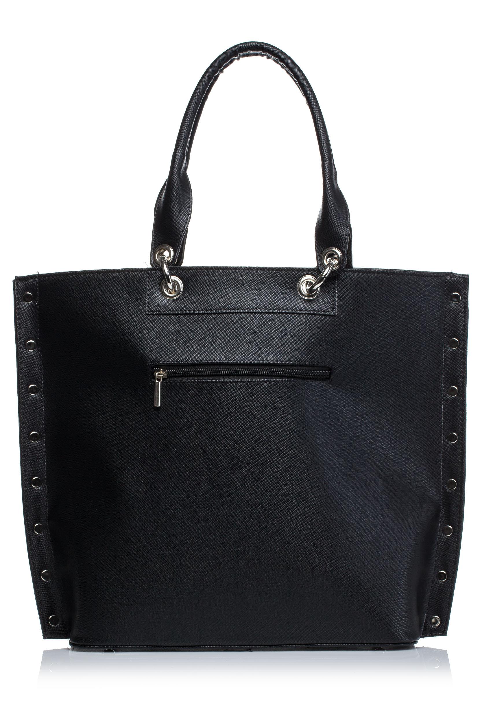 CM3571 Stylowa torebka z kieszonką - czarna