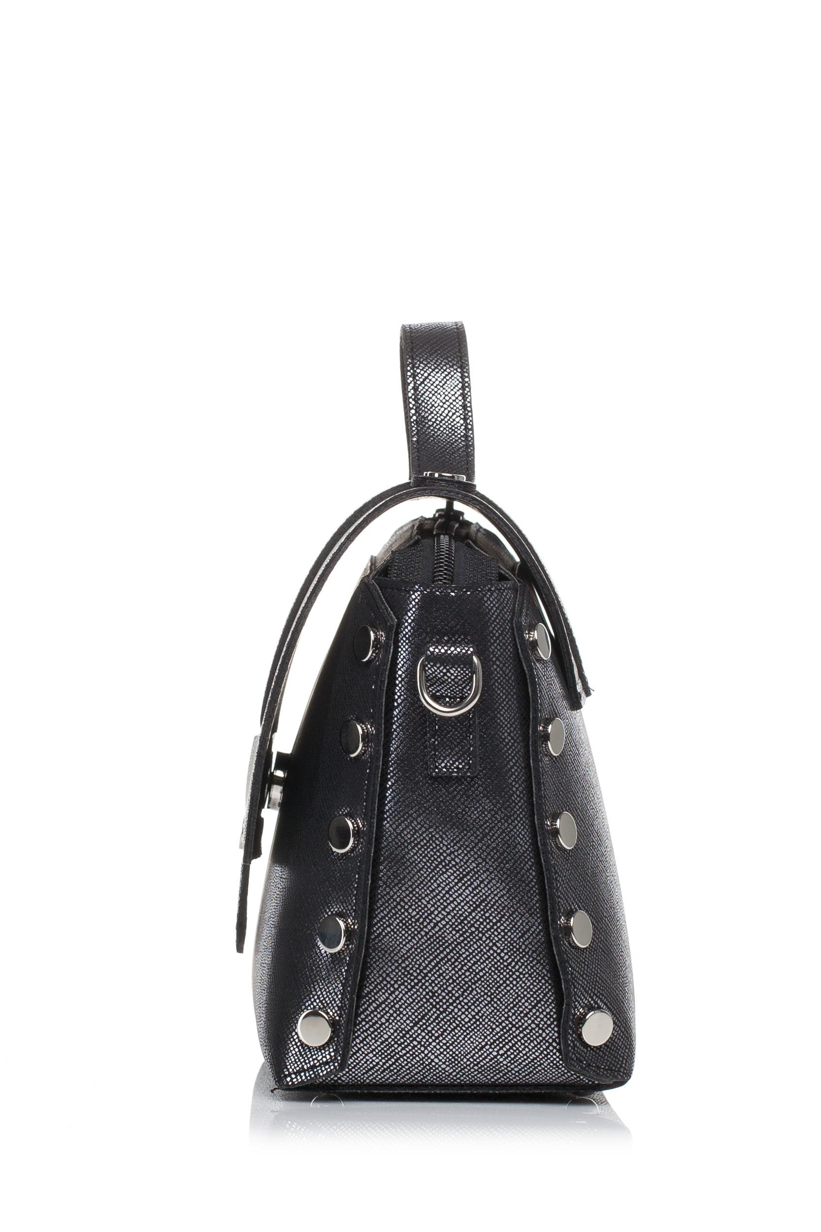 CM3573 Mała zapinana torebka z paskiem - ciemno-srebrna