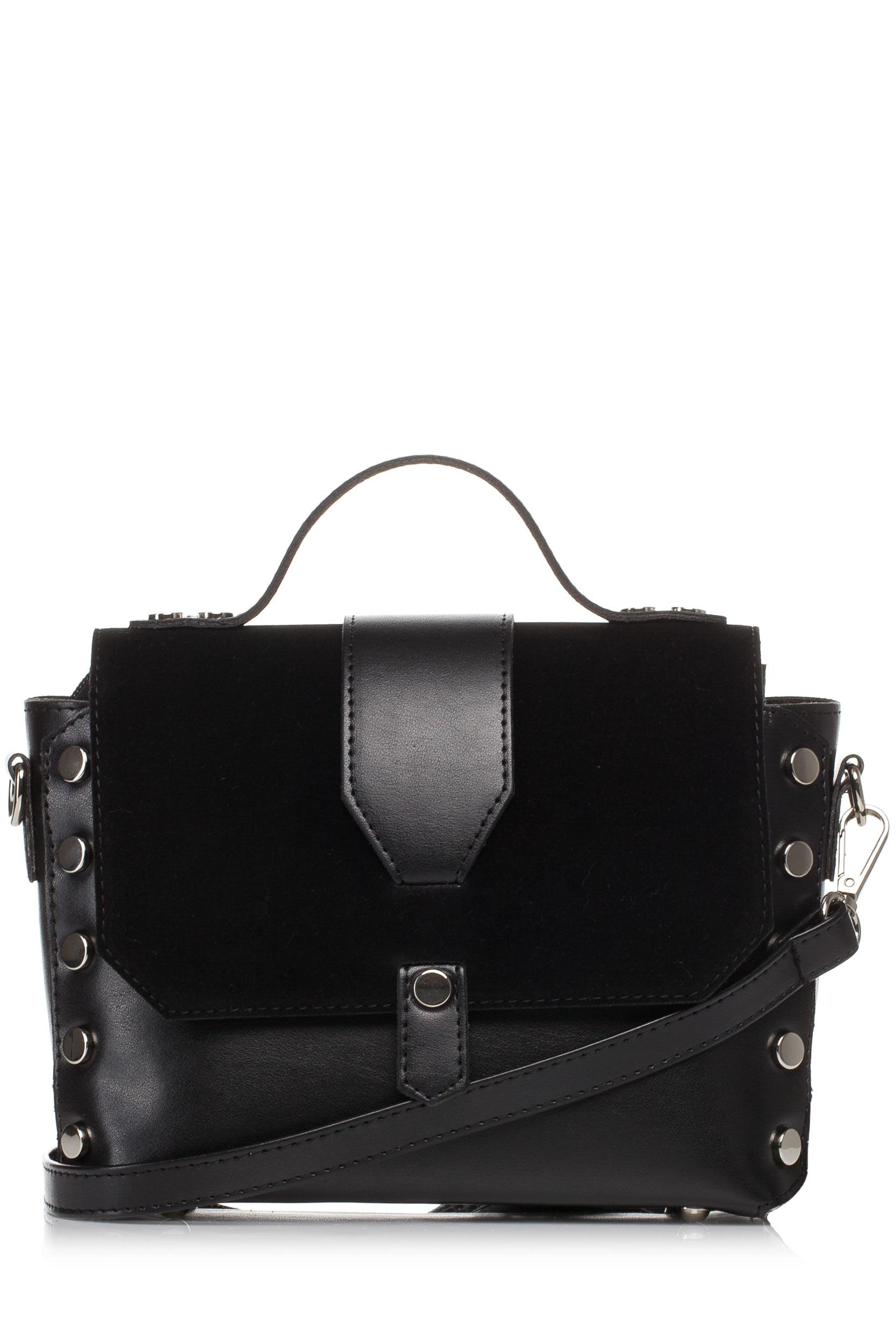 CM3573 Mała zapinana torebka z paskiem - czarna