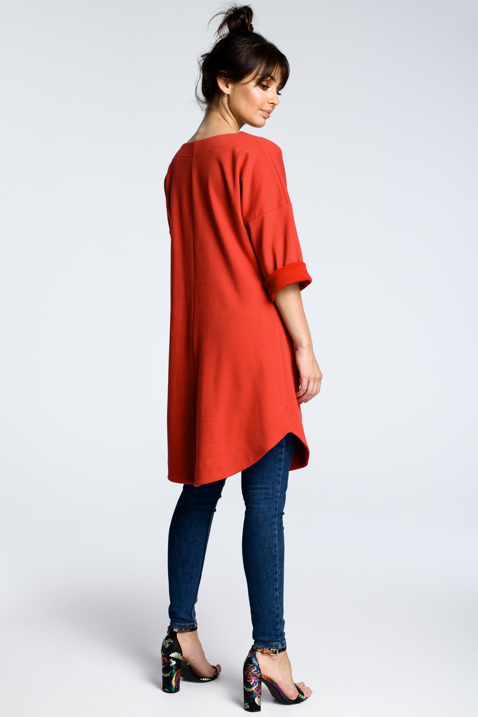 CM3601 Sukienka z wykładanymi kieszeniami - czerwona