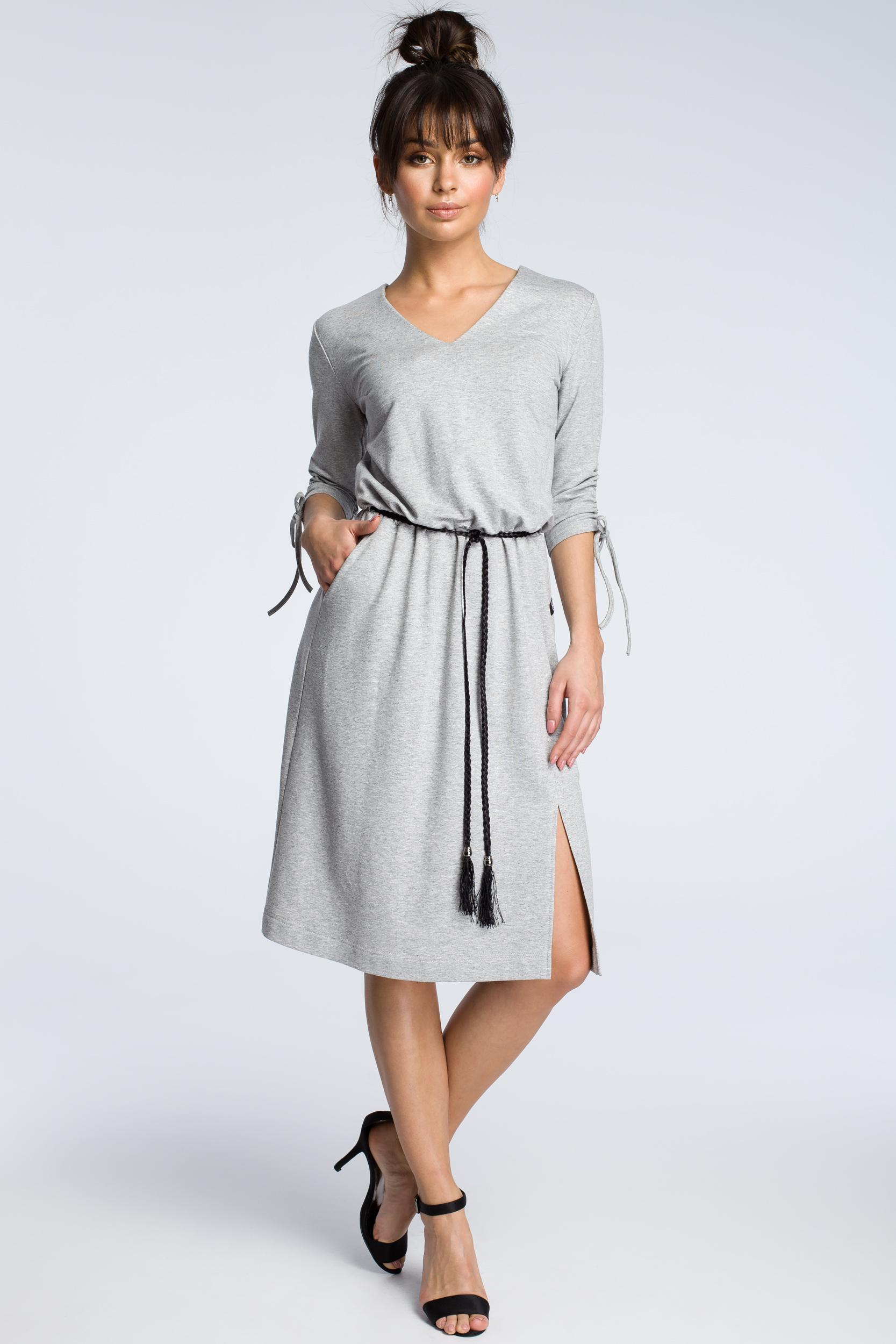 CM3605 Sukienka z podciąganymi rękawami - szara