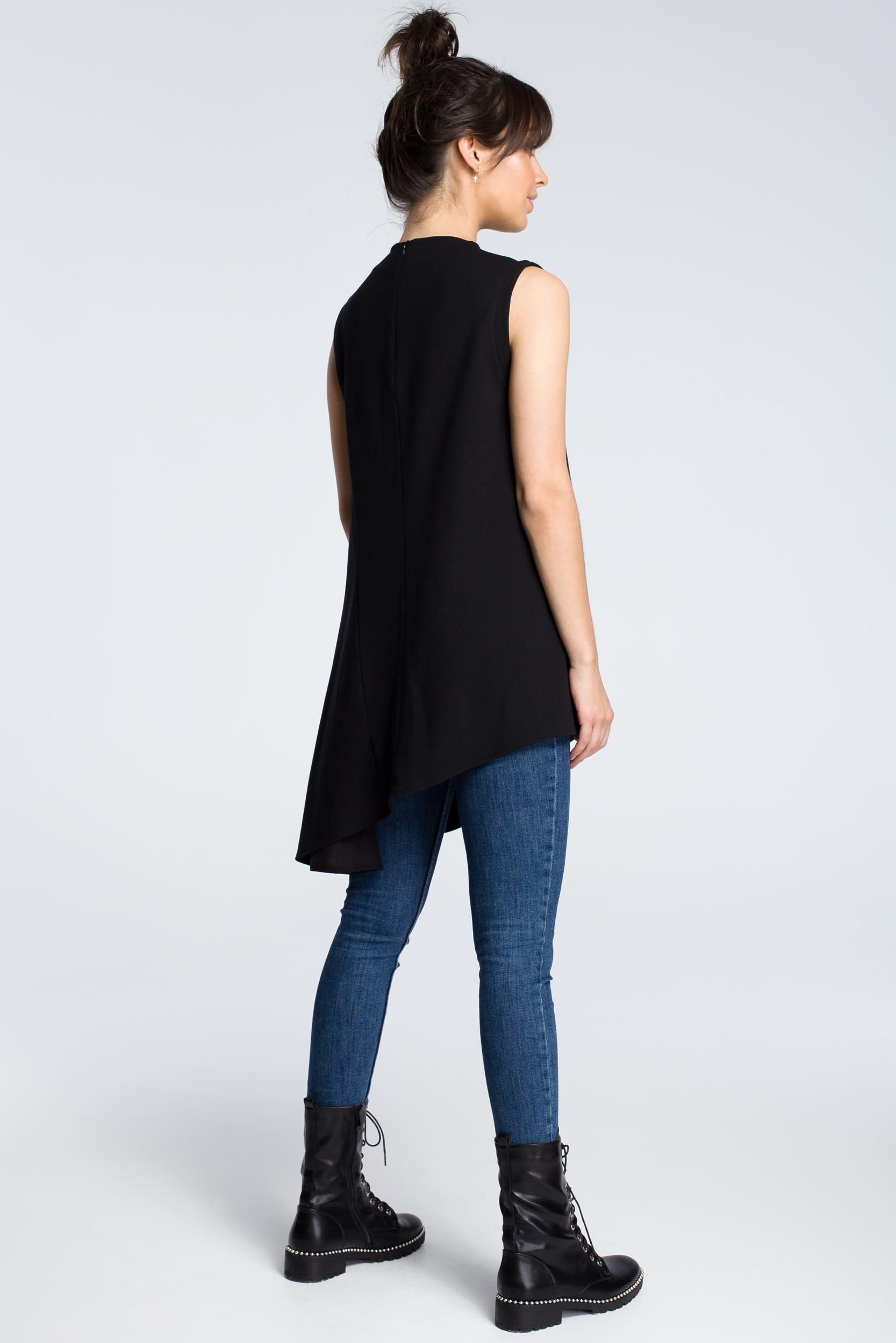 CM3606 Asymetryczna bluzka bez rękawów - czarna