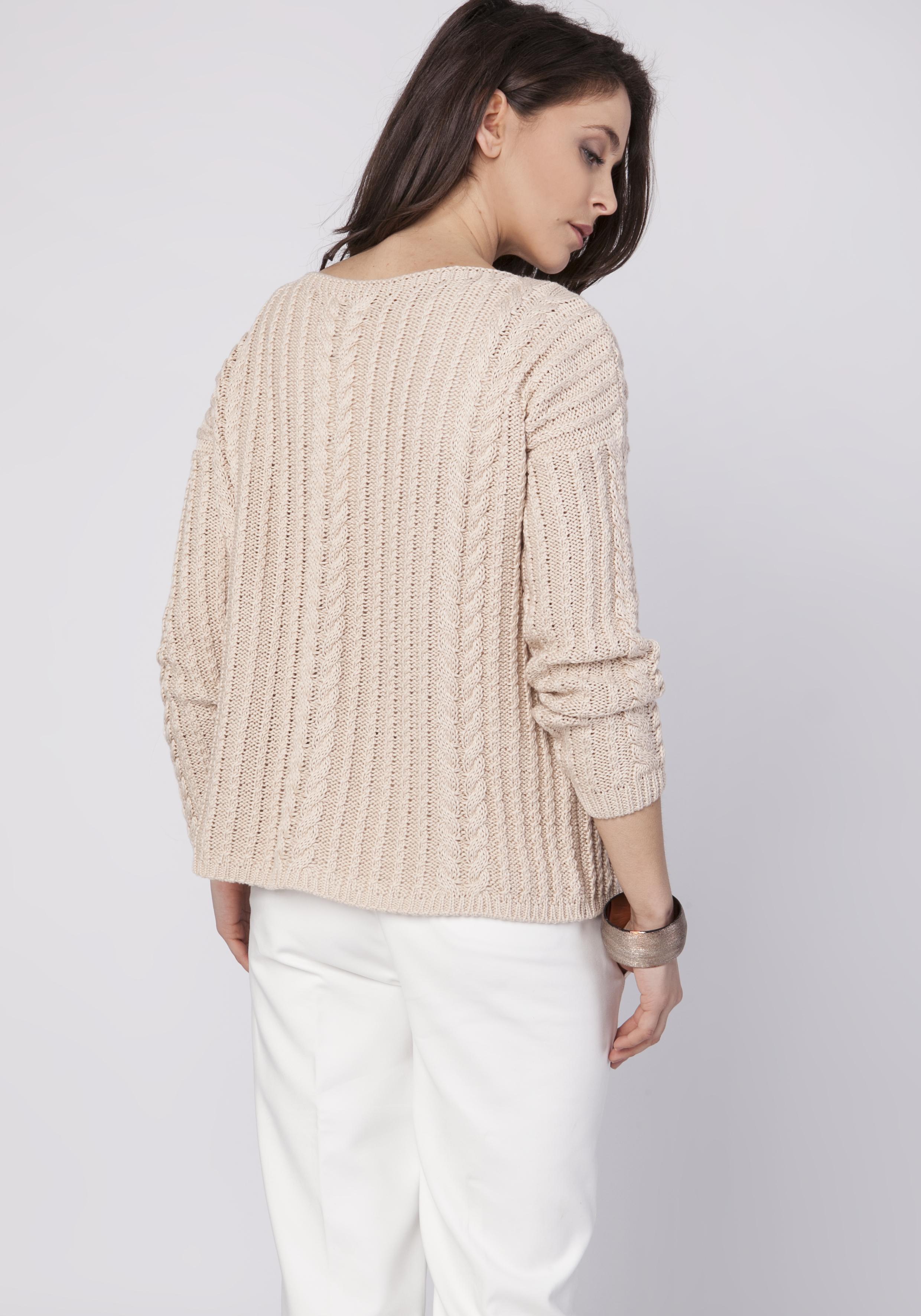 CM3519 Wyjątkowy warkoczowy sweter z długim rękawem - beżowy