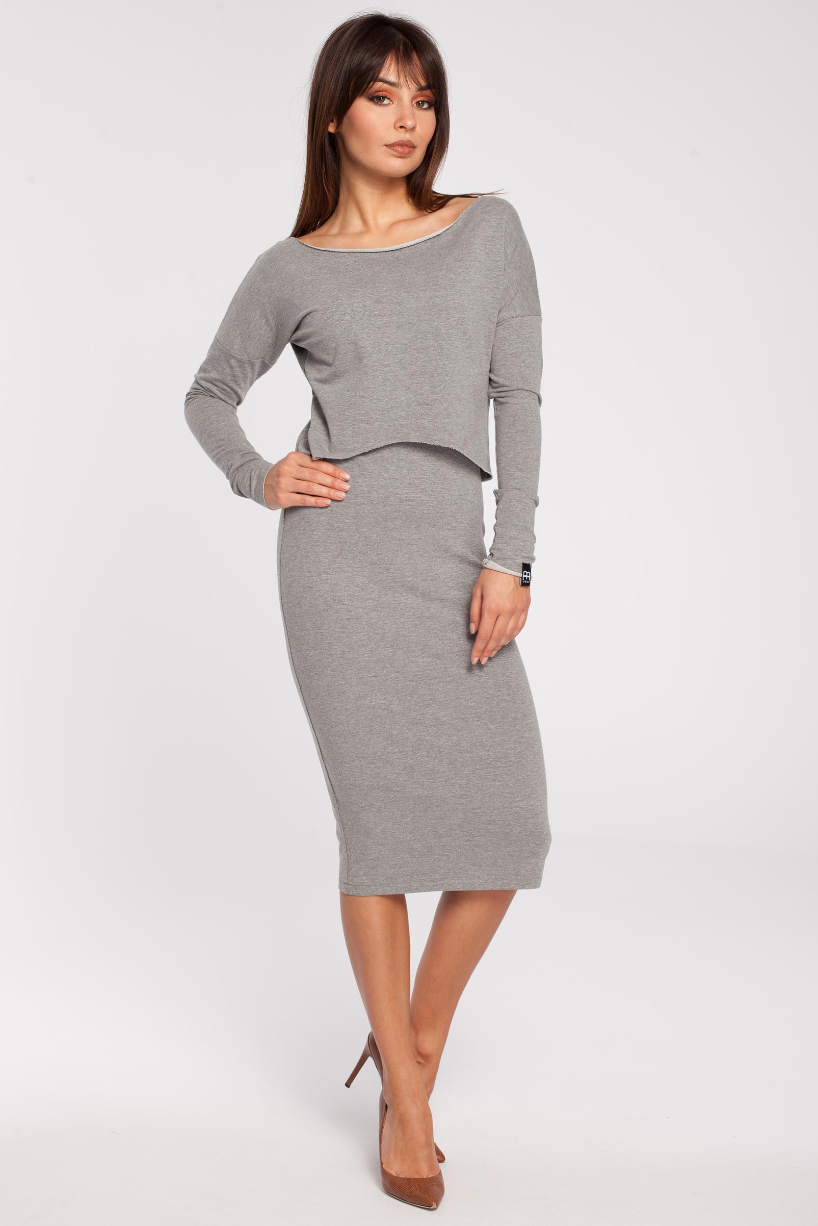 CM2780 Elastyczna ołówkowa sukienka midi - szara