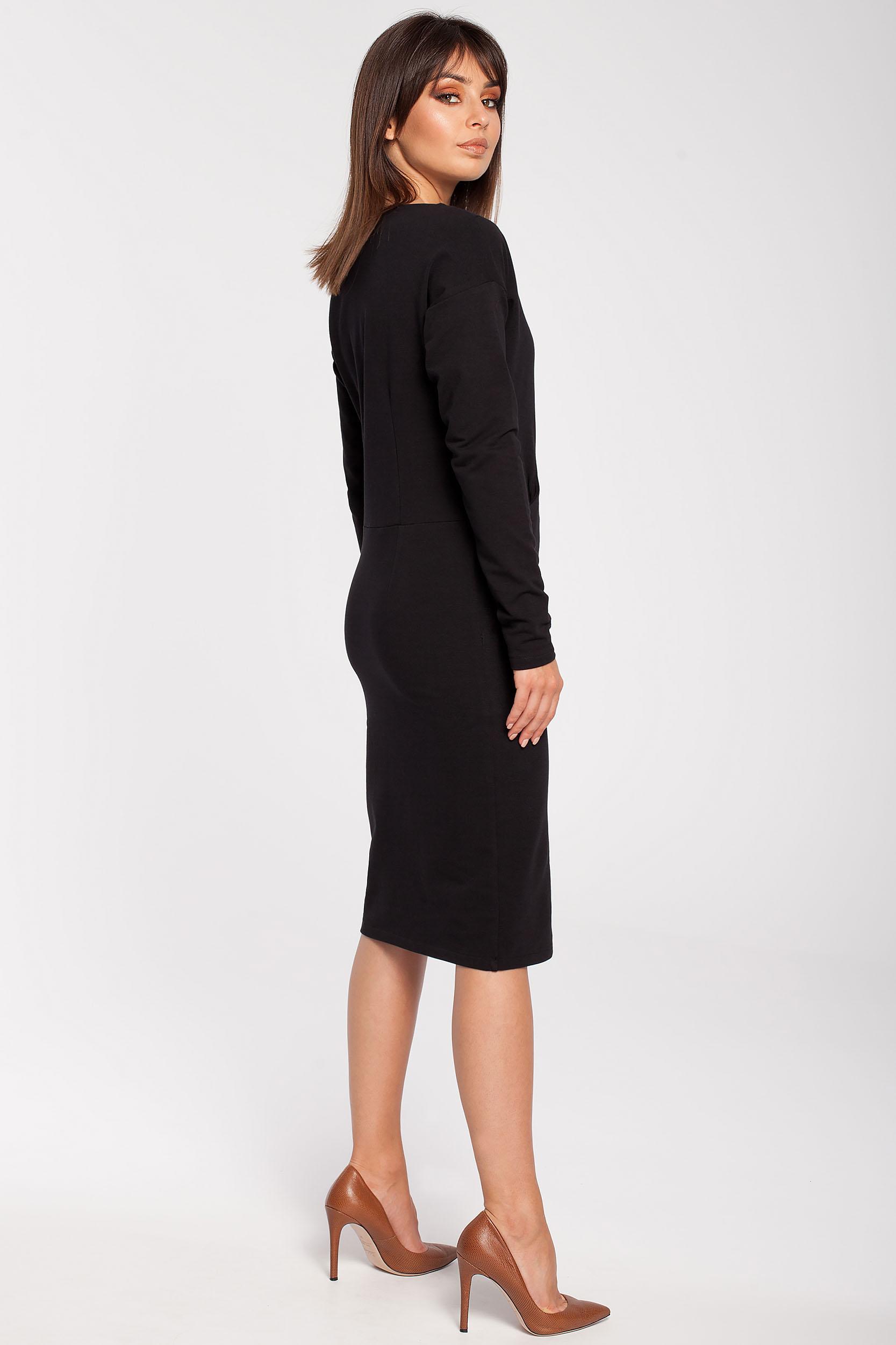 CM2785 Sportowa sukienka z długim rękawem - czarna