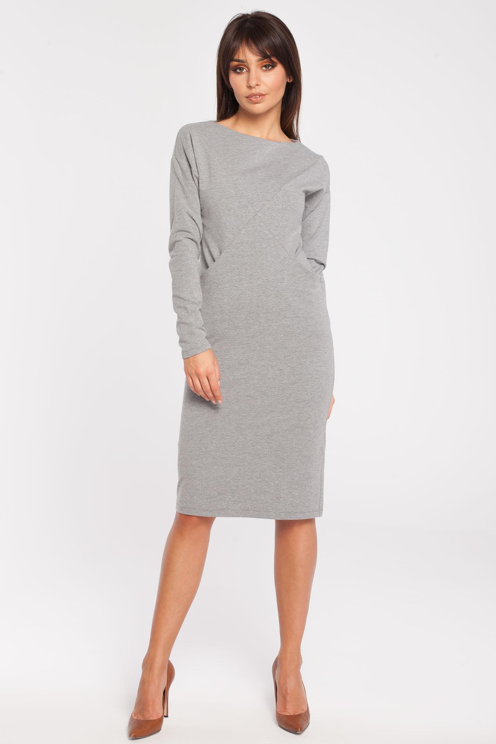 CM2785 Sportowa sukienka z długim rękawem - szara