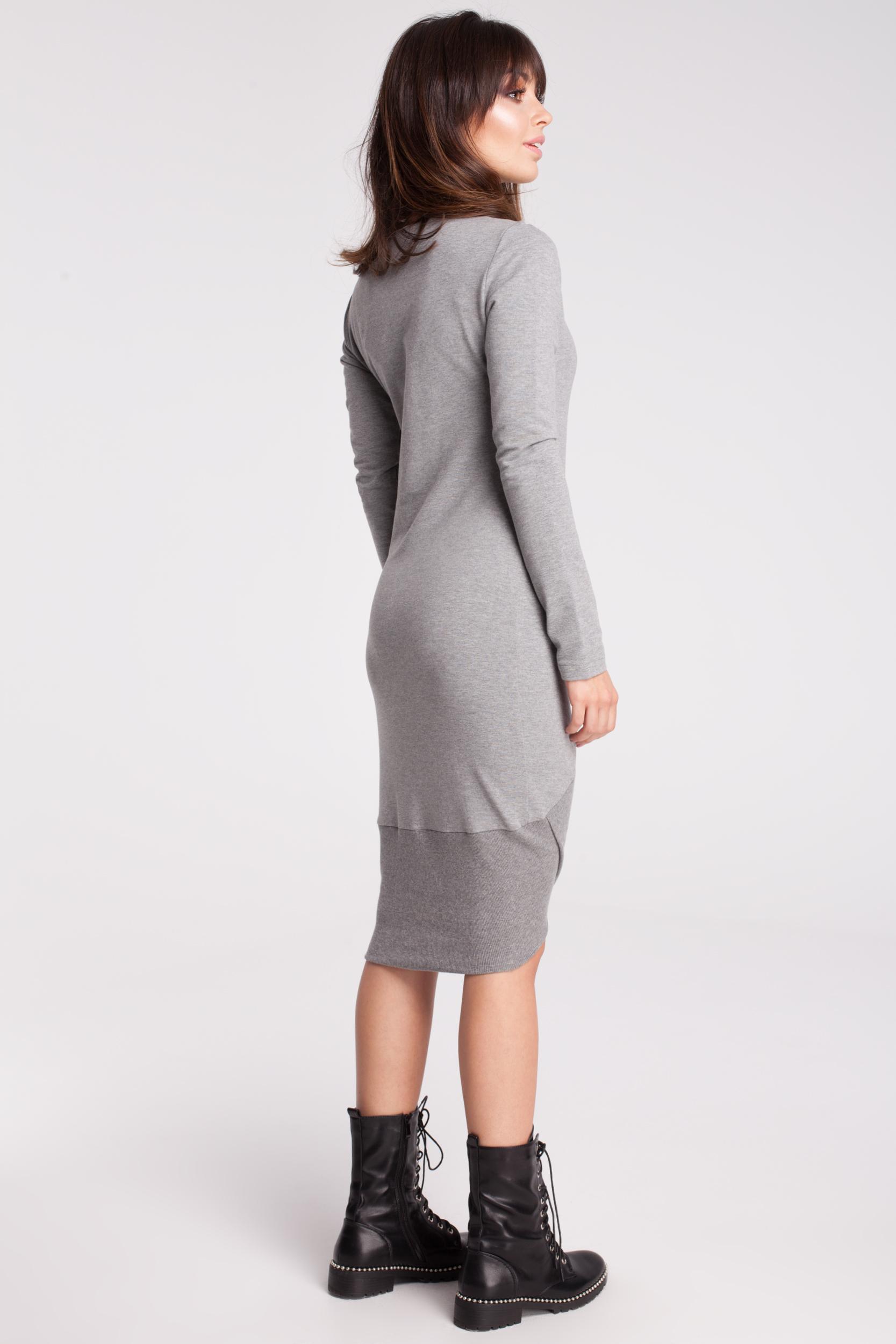 CM2786 Asymetryczna dresowa sukienka - szara OUTLET