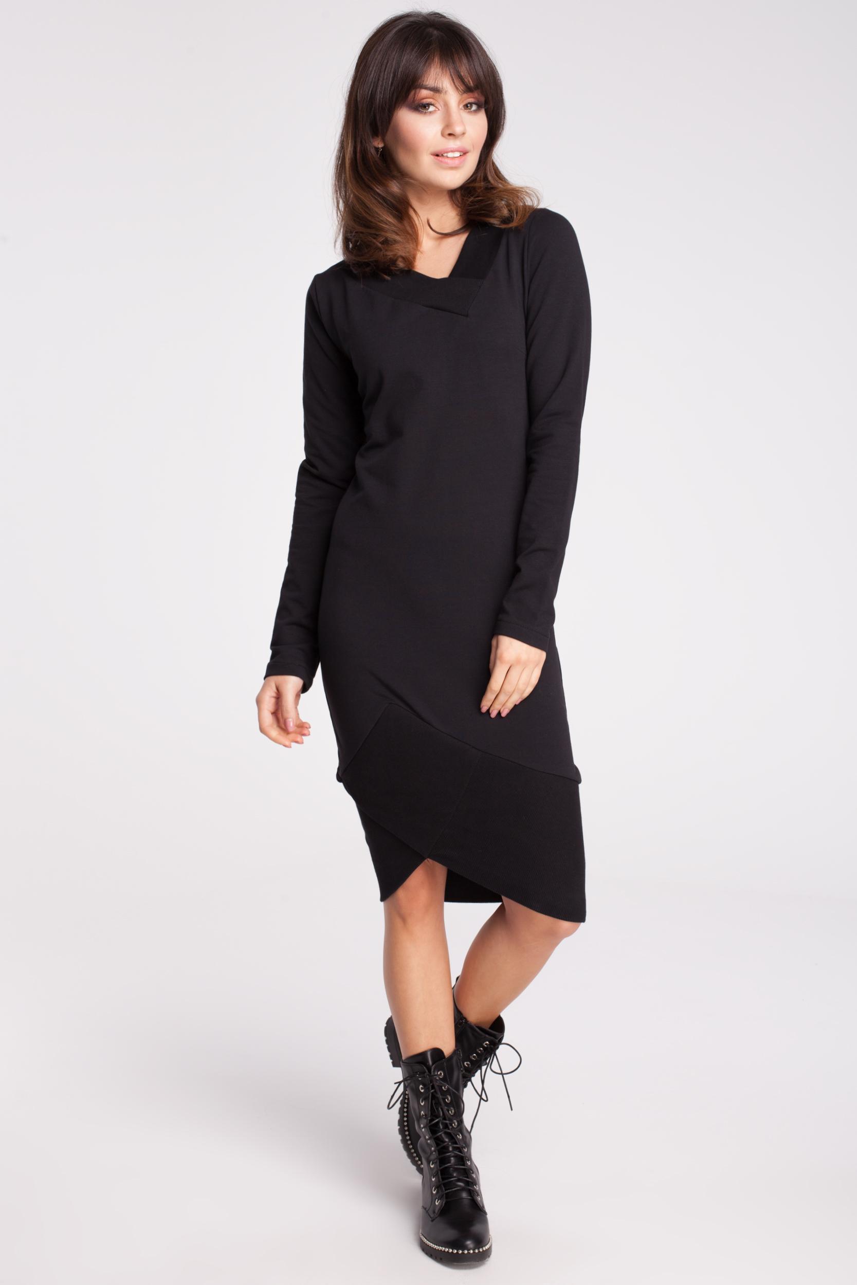 CM2786 Asymetryczna dresowa sukienka - czarna OUTLET