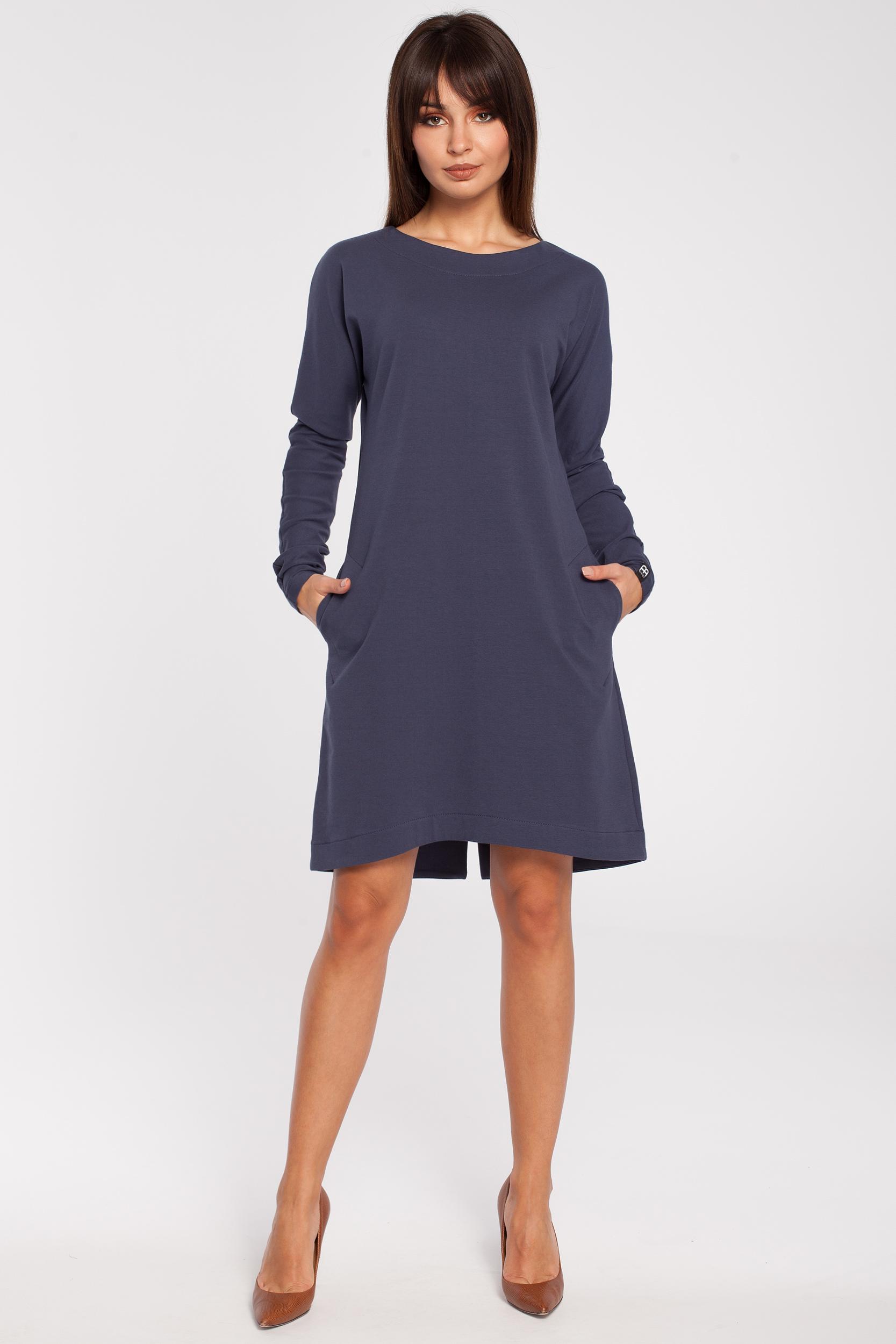65f1163ddf CM2791 Trapezowa sukienka z długim rękawem - niebieska ...