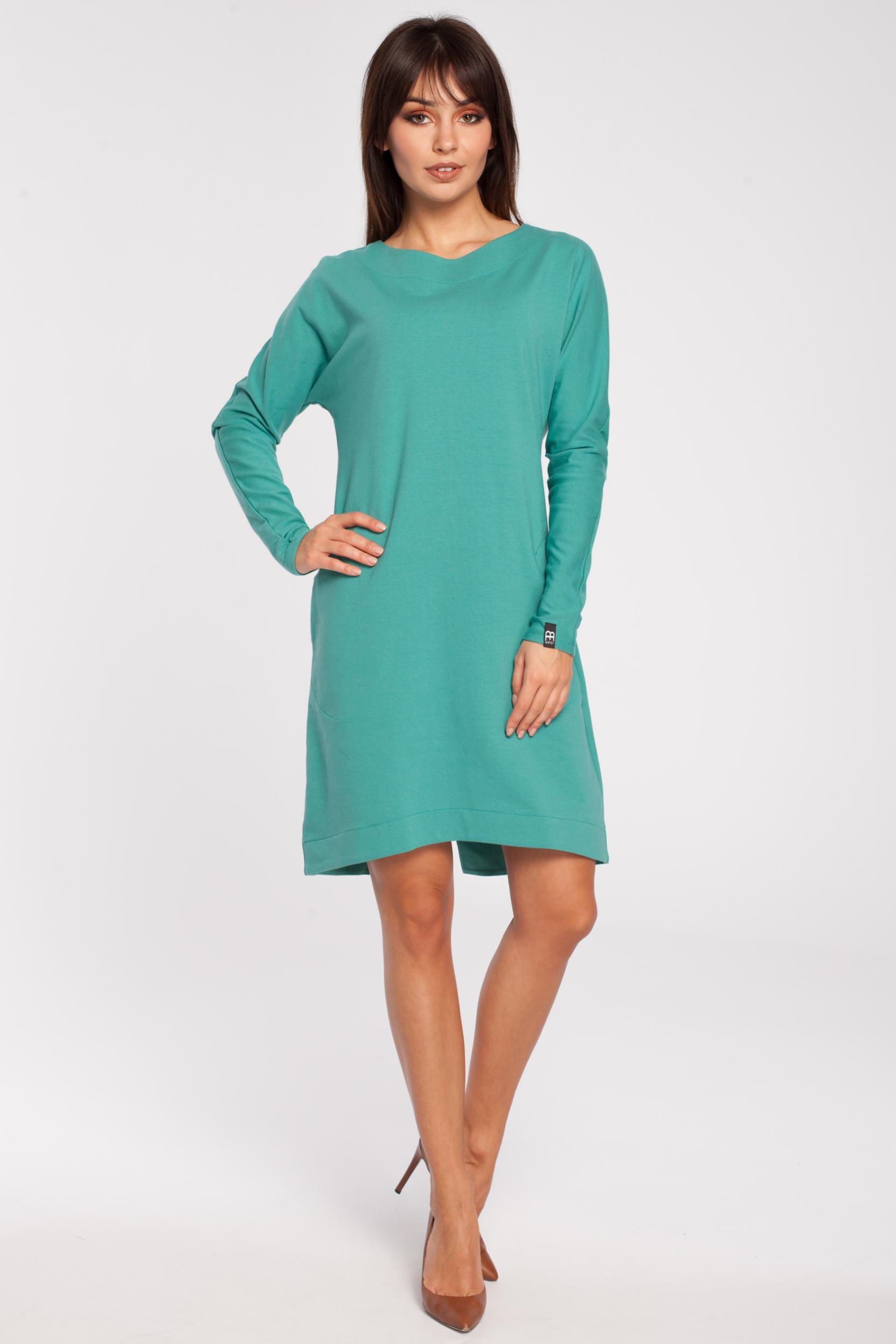 b6df93fd11 CM2791 Trapezowa sukienka z długim rękawem - zielona ...