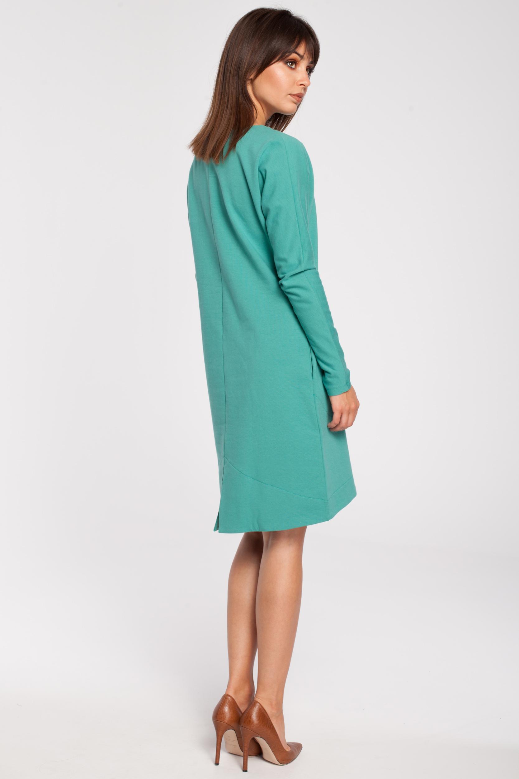 CM2791 Trapezowa sukienka z długim rękawem - zielona