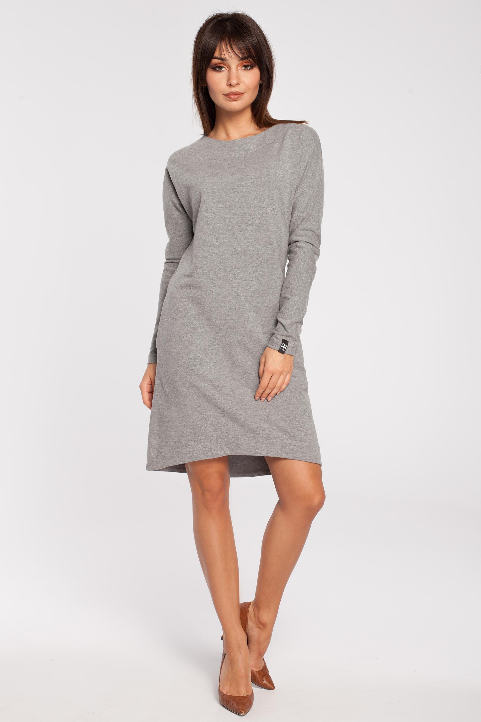 455117e428 CM2791 Trapezowa sukienka z długim rękawem - szara ...