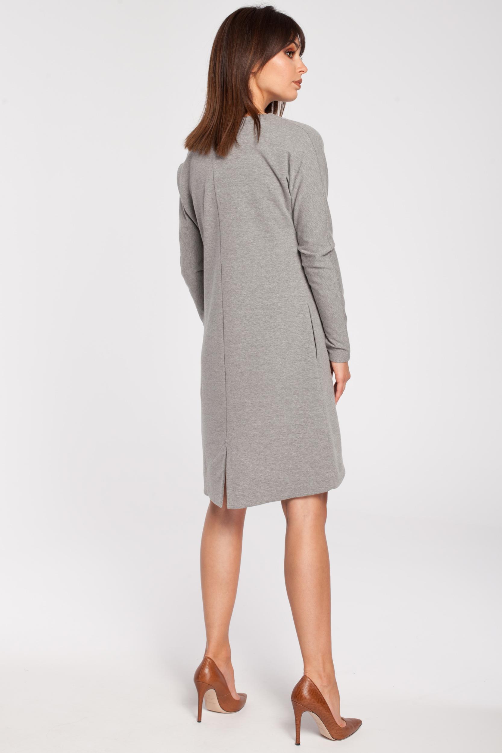 CM2791 Trapezowa sukienka z długim rękawem - szara