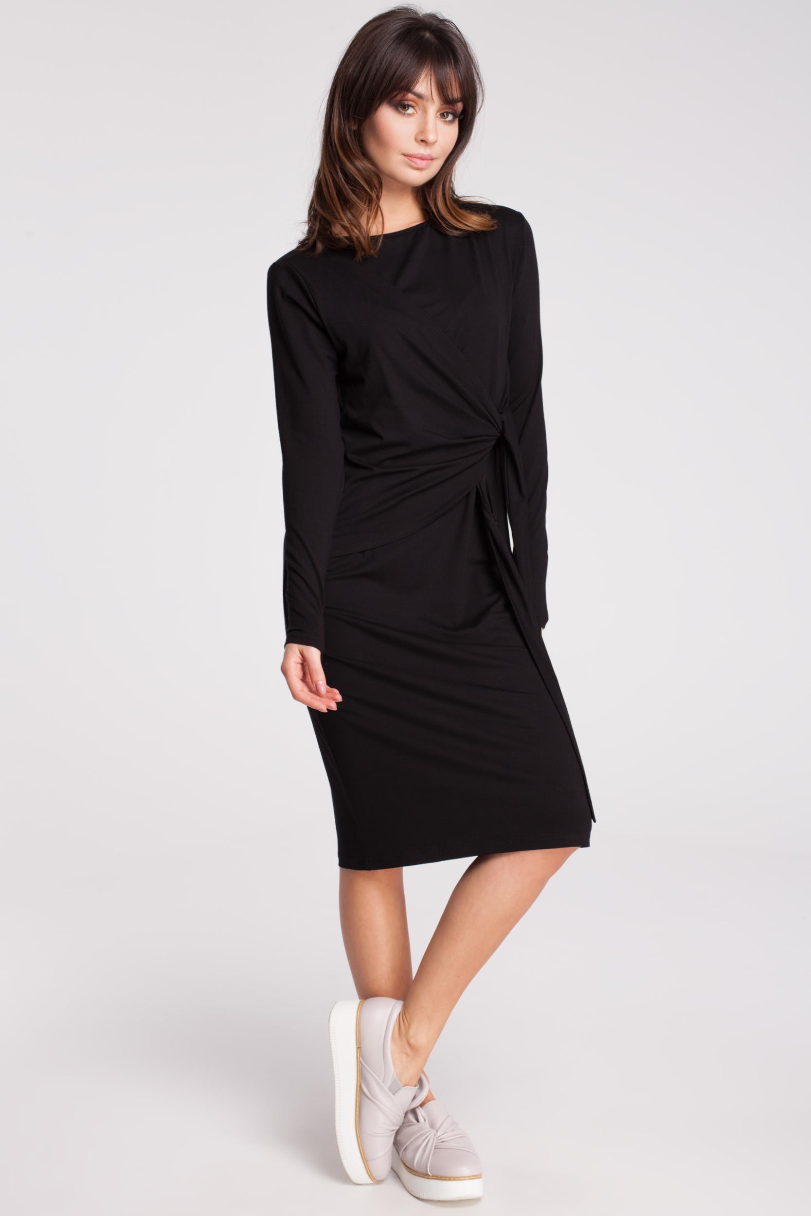 CM2792 Nowoczesna sukienka z szarfą - czarna