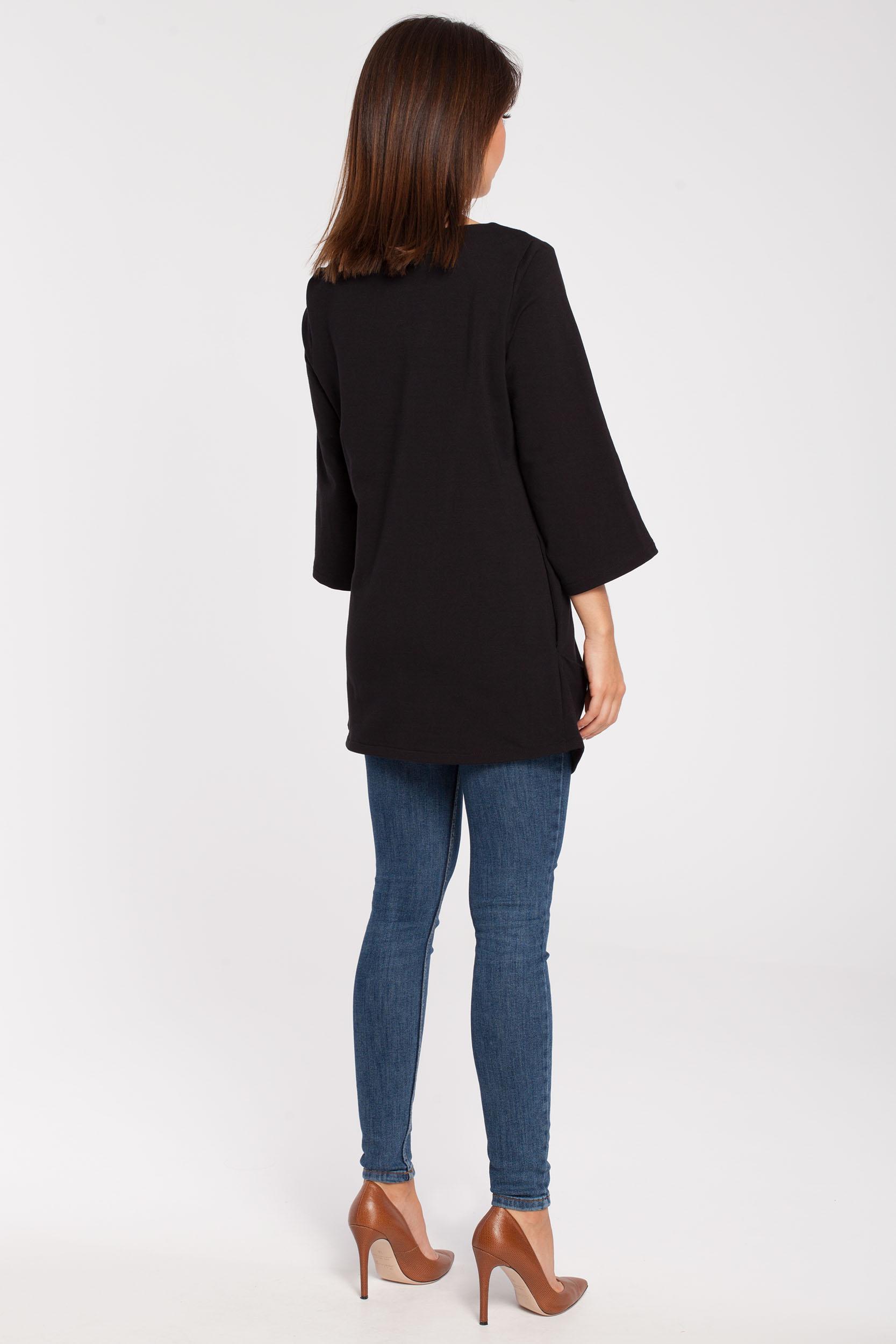 CM2867 Gładka elegancka tunika - czarna