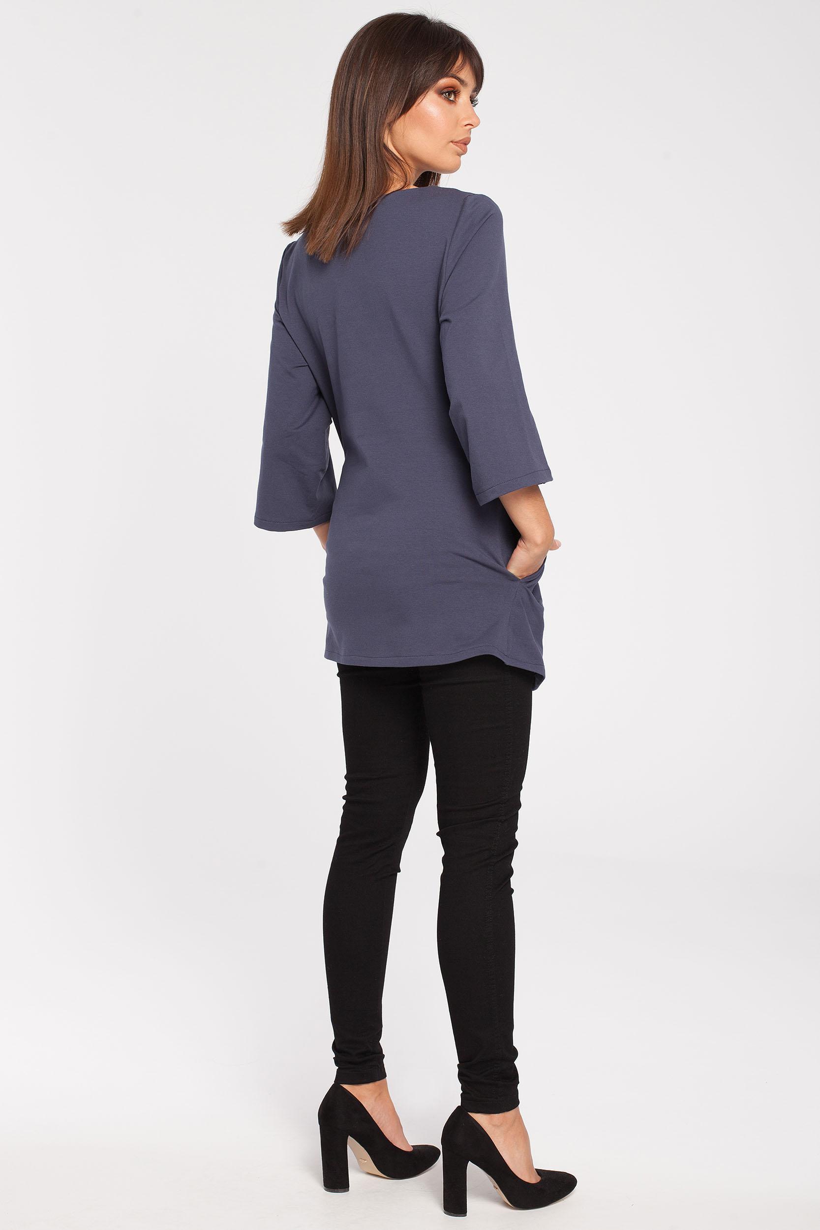 CM2867 Gładka elegancka tunika - niebieska