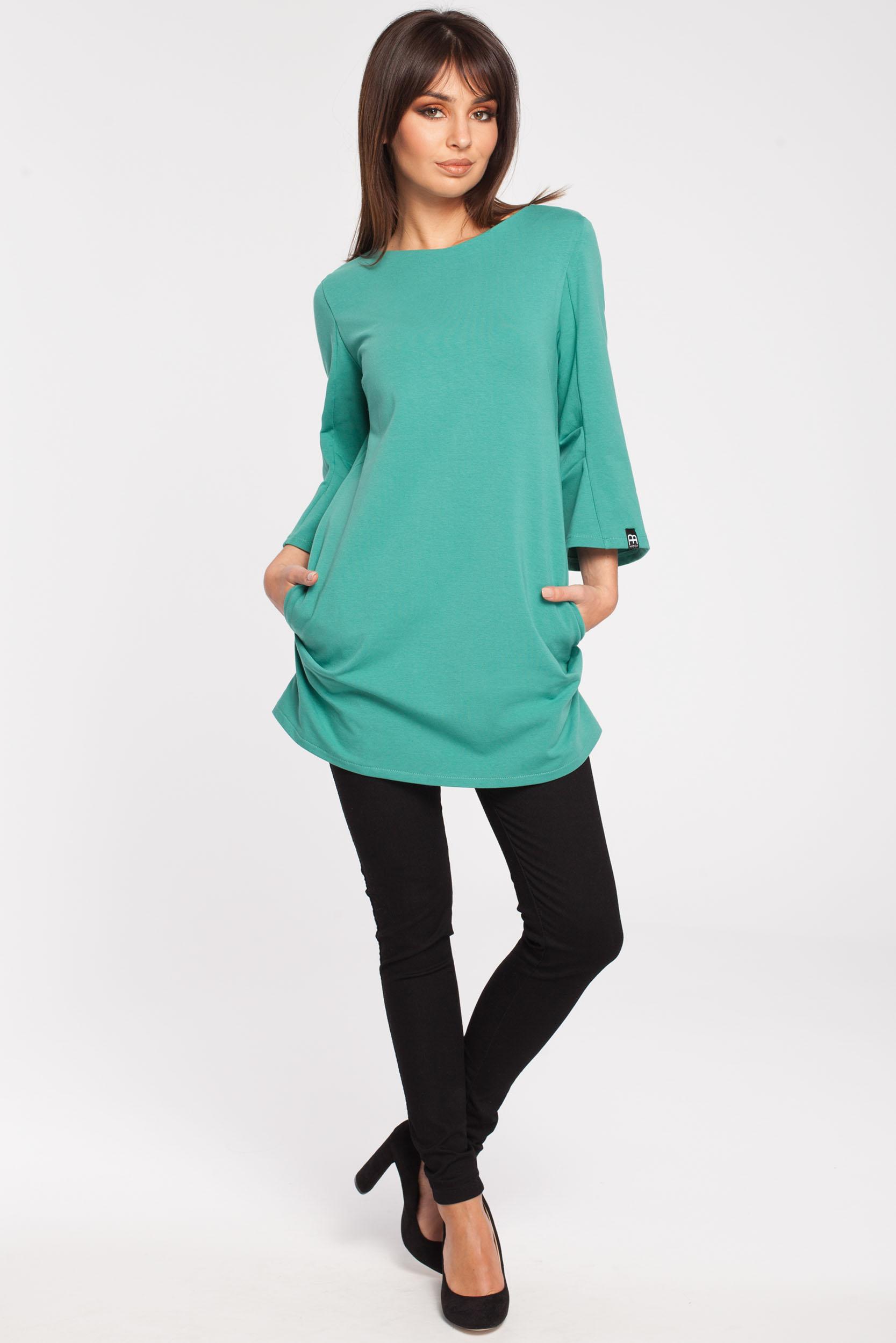 CM2867 Gładka elegancka tunika - zielona