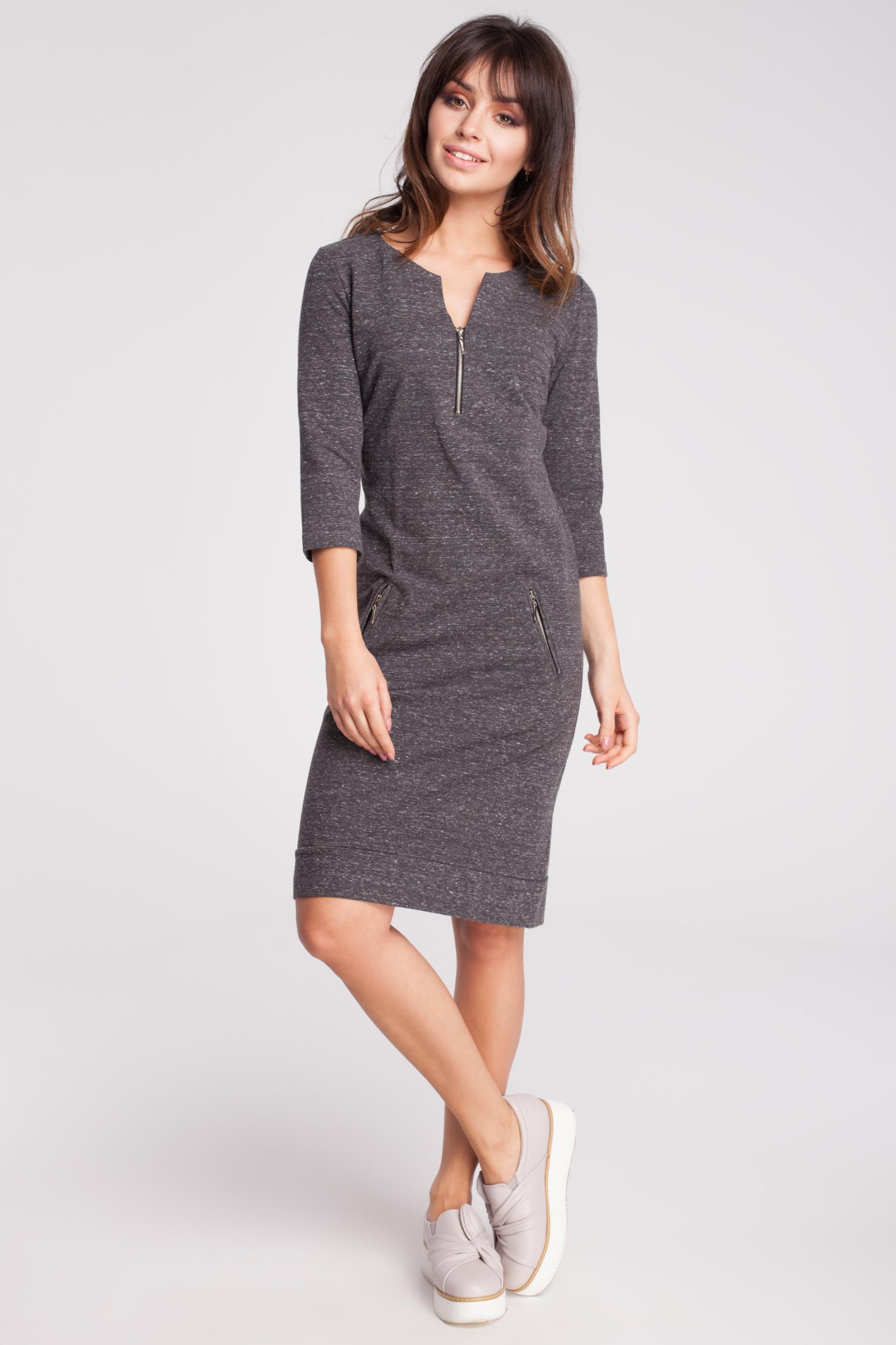 CM2870 Dresowa sukienka z rękawem 3/4 - grafitowy-melanż