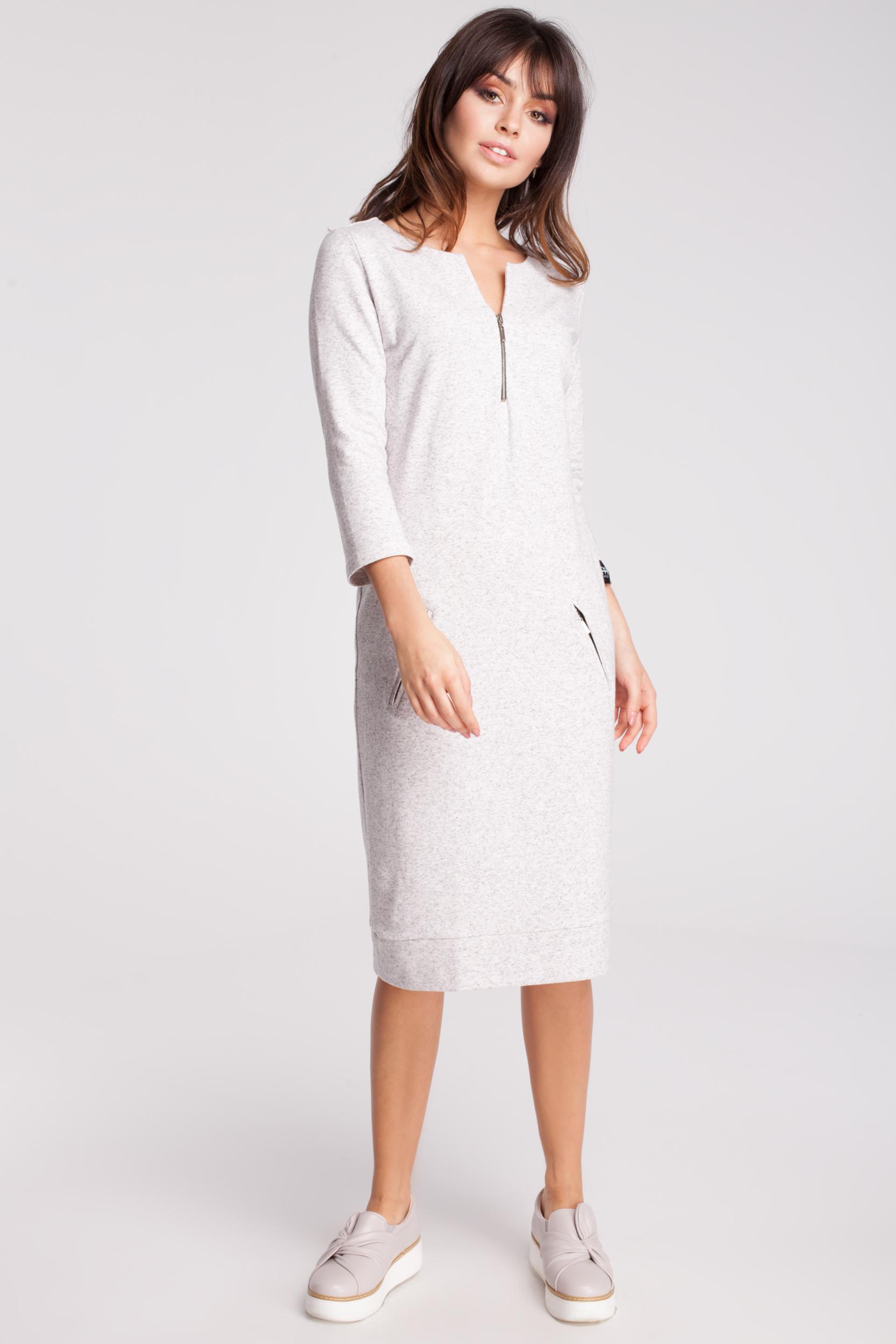 CM2870 Dresowa sukienka z rękawem 3/4 - stracciatella
