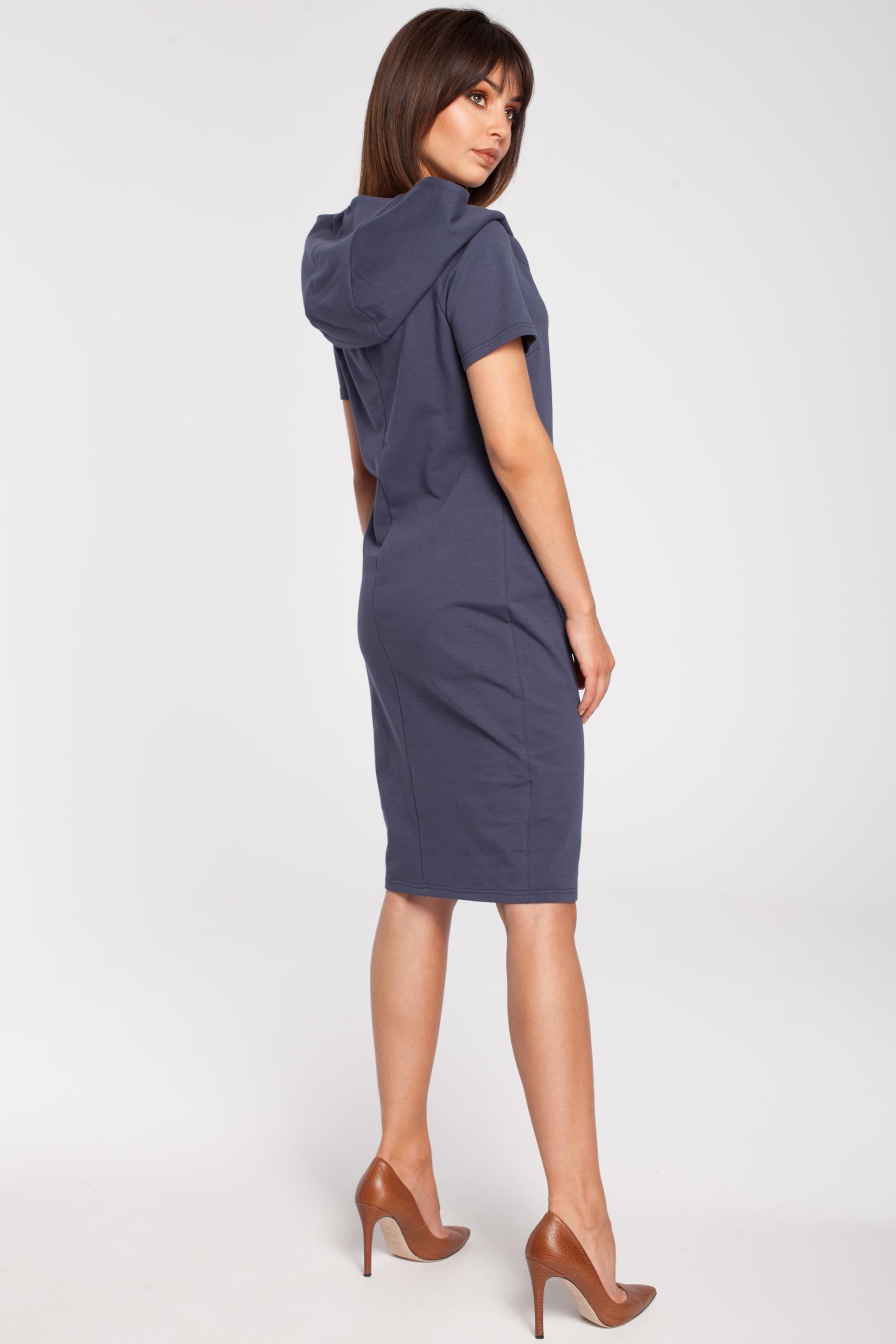 CM2880 Unikalna sukienka z kapturem - niebieska