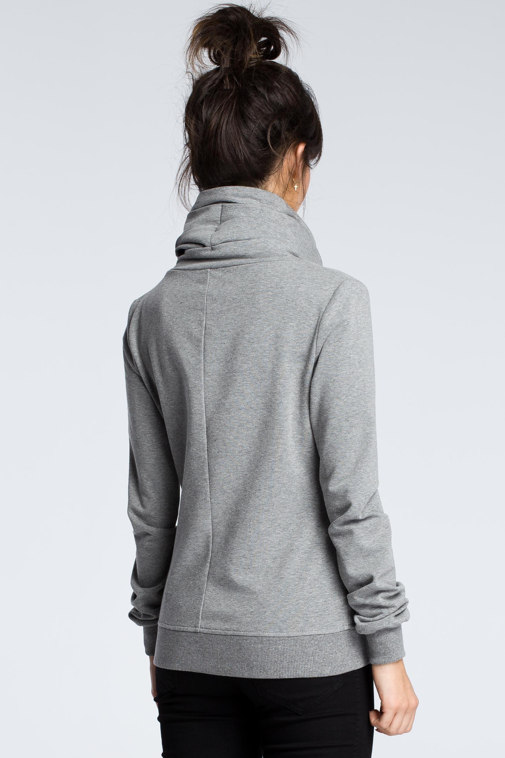 CM3608 Bluza z ukośnym zamkiem - szara
