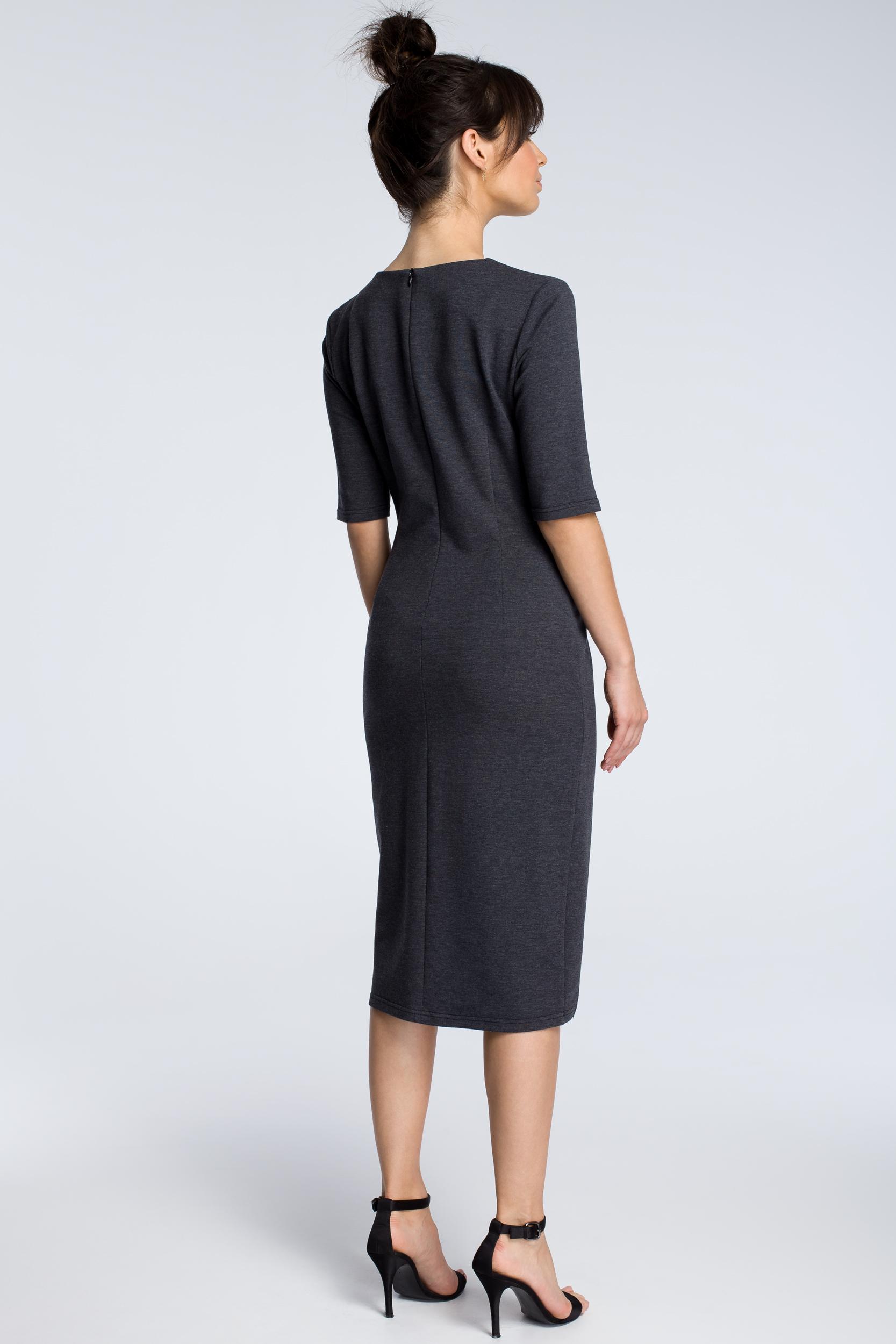 CM3615 Sukienka z wycięciem i wstawką z koronki - grafitowa