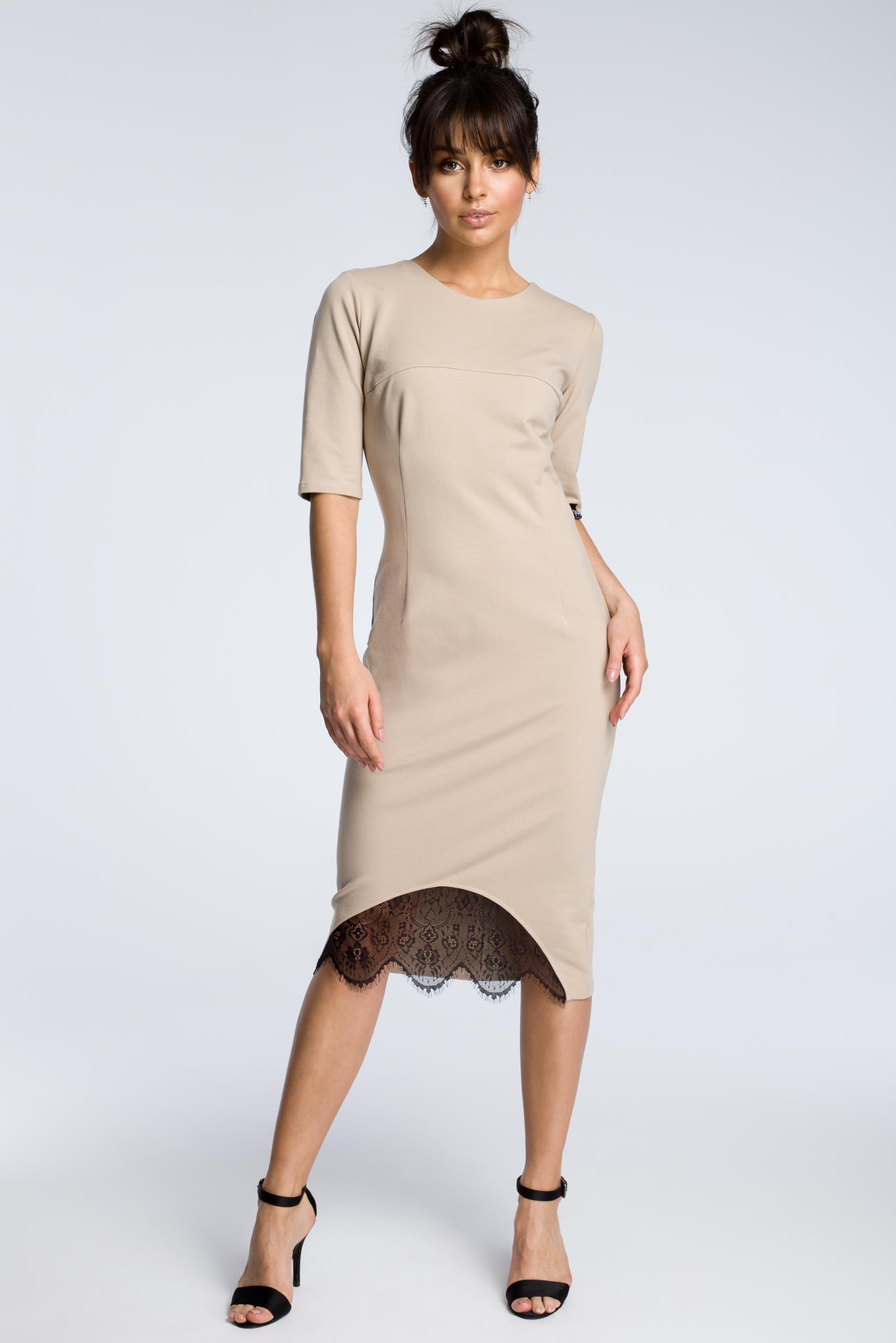 CM3615 Sukienka z wycięciem i wstawką z koronki - beżowa