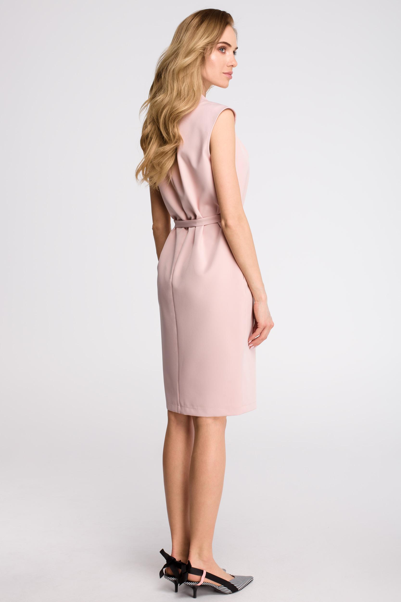 CM3618 Sukienka szmizjerka bez rękawów - pudrowa
