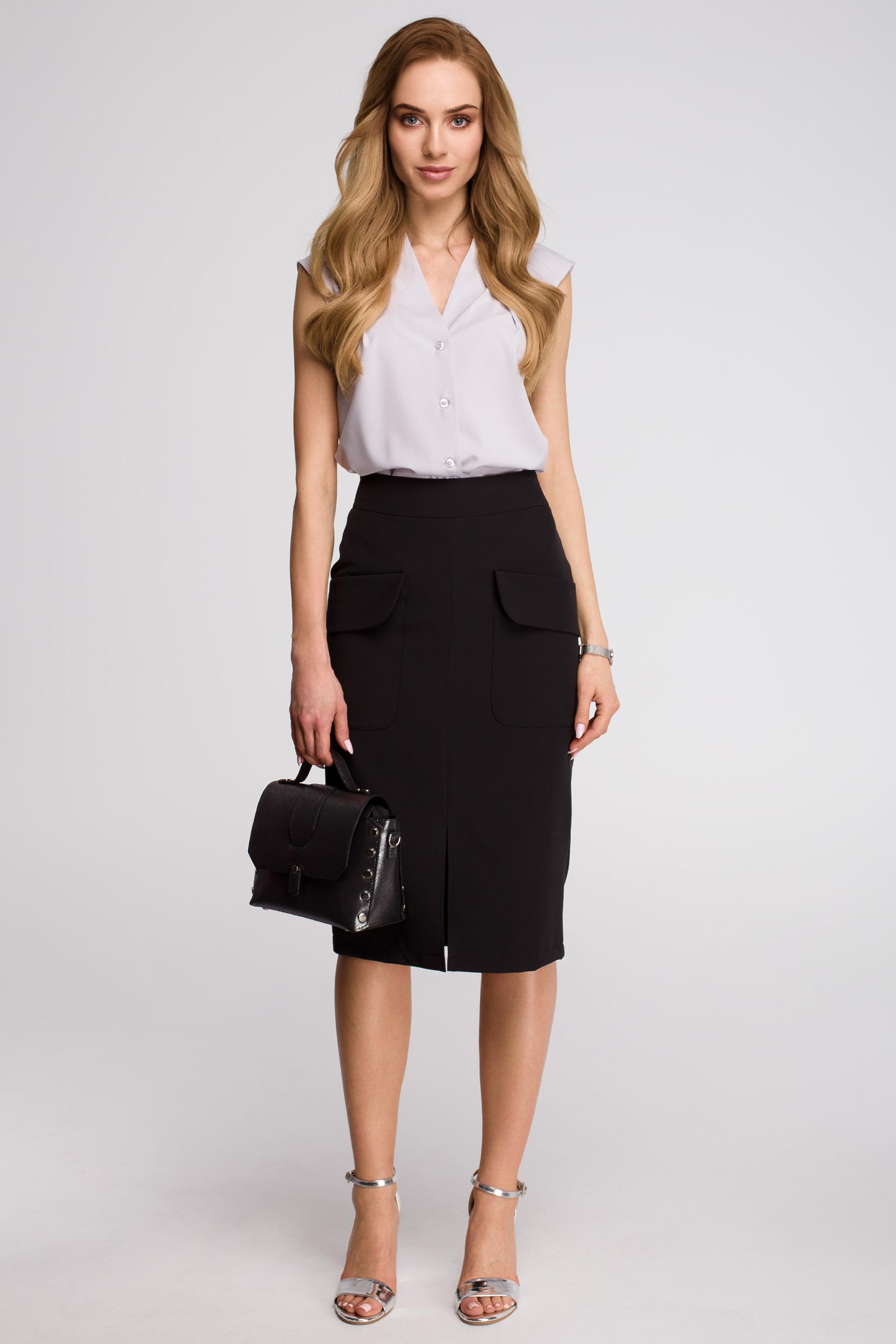 CM3619 Spódnica z kieszeniami z przodu - czarna