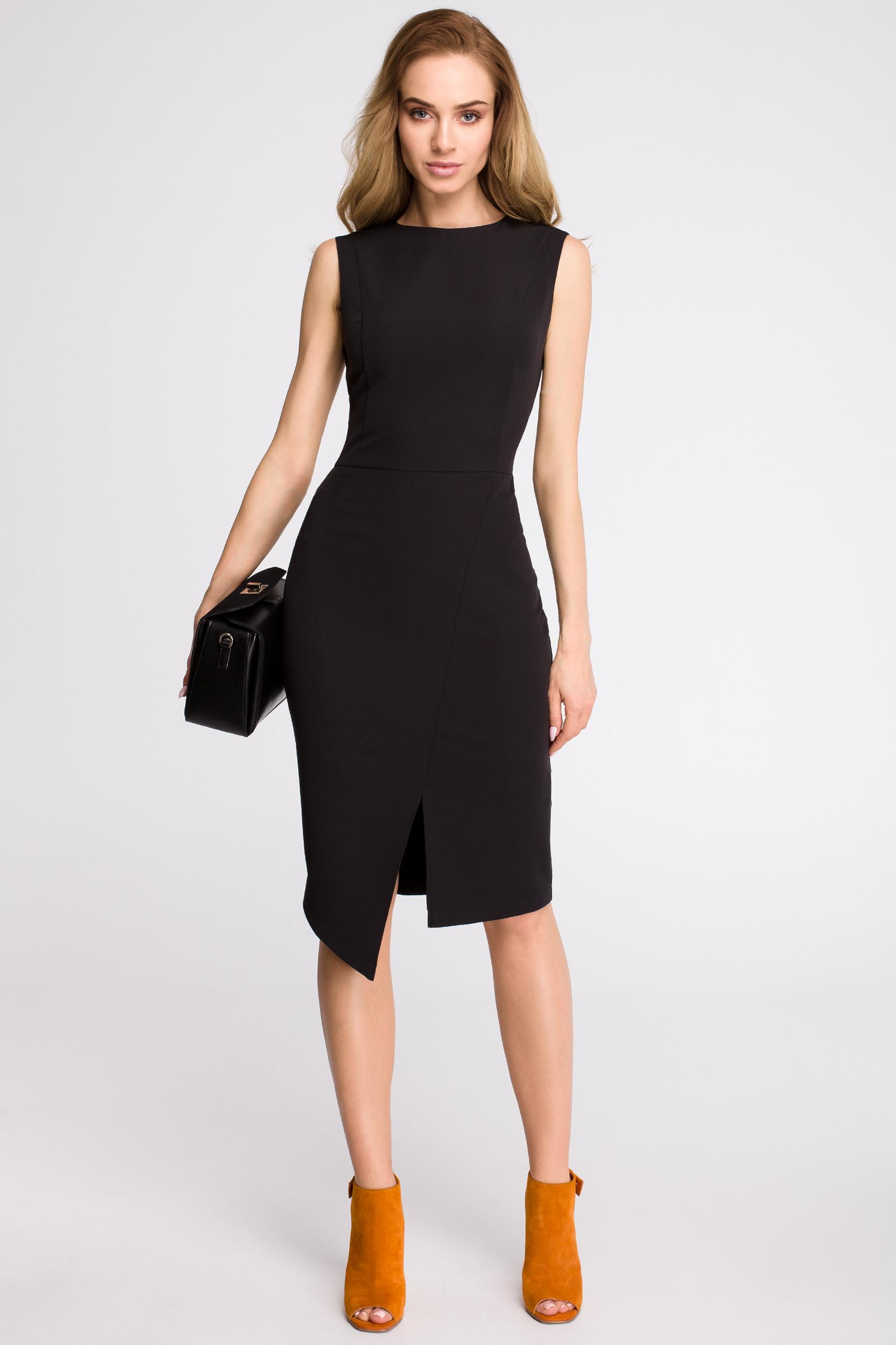CM3621 Sukienka z asymetrycznym rozcięciem z przodu - czarna