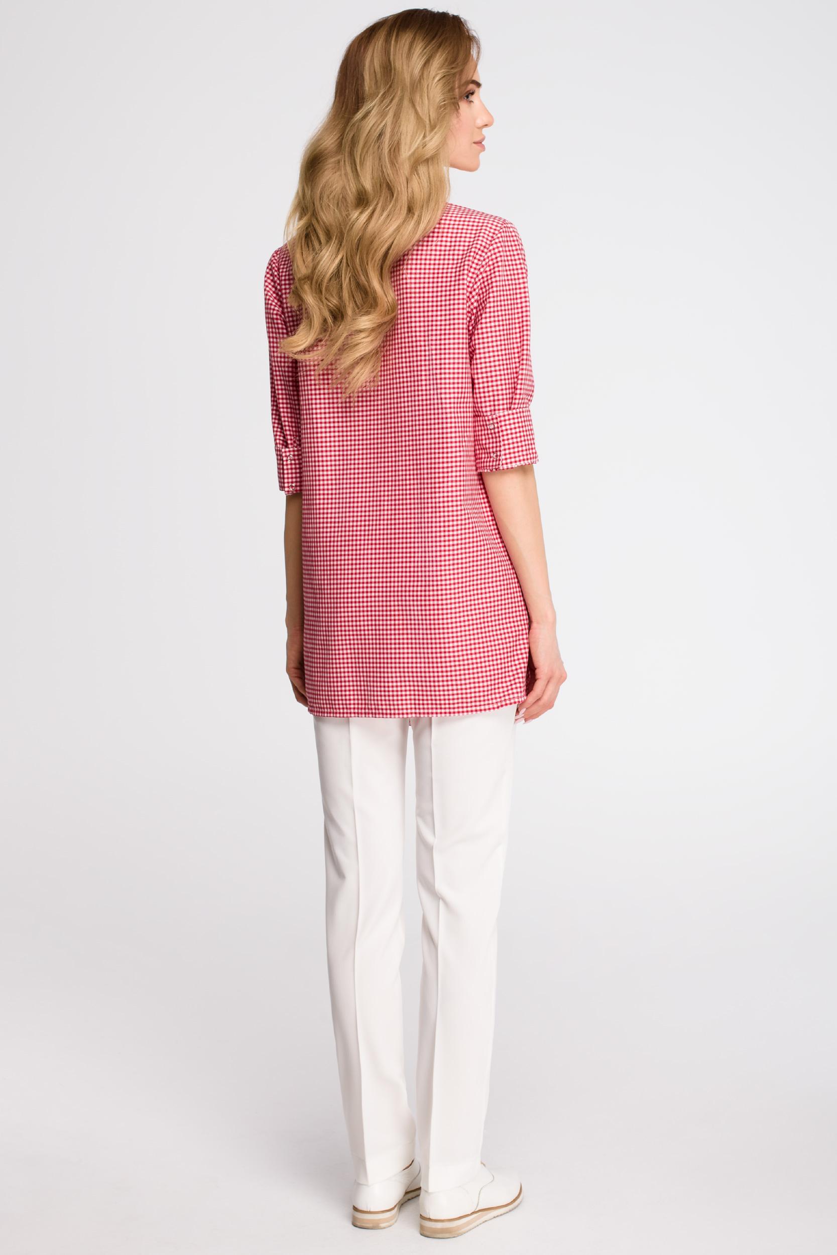 CM3622 Luźna koszula w kratkę - czerwona